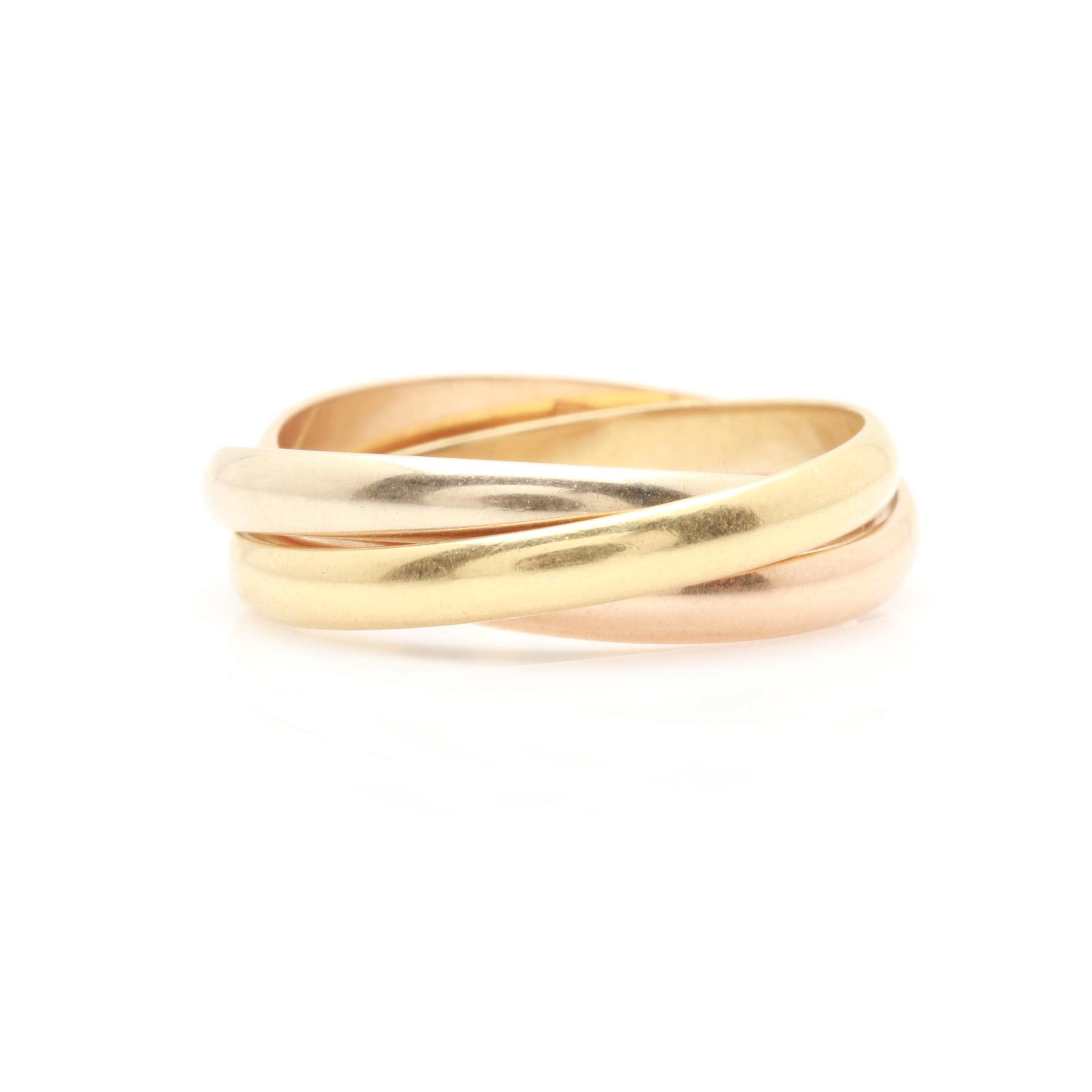 Cartier 18K Tri-Color Gold Trinity Ring
