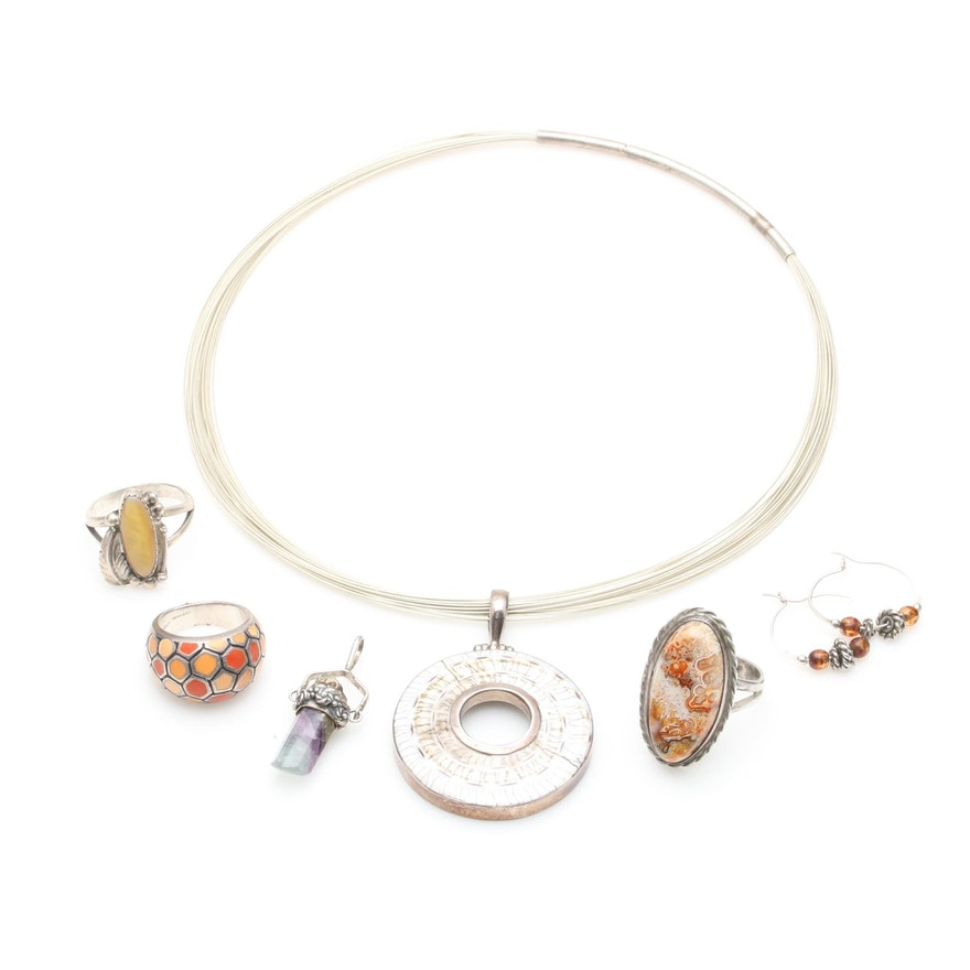 Sterling Silver Jewelry Collection Including Shell and Fluorite : EBTH