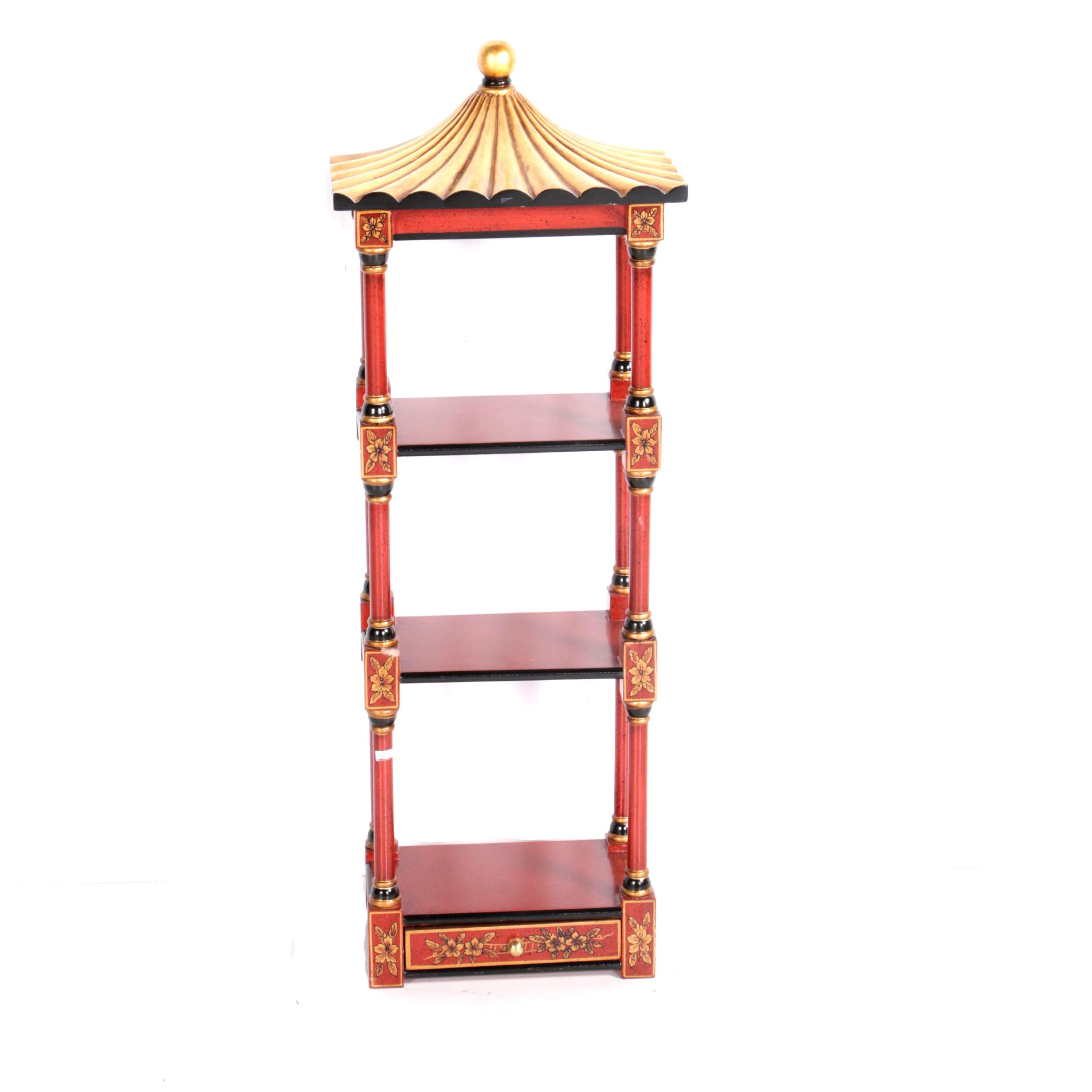 Chinoiserie Style Accent Wall Hanging Shelf