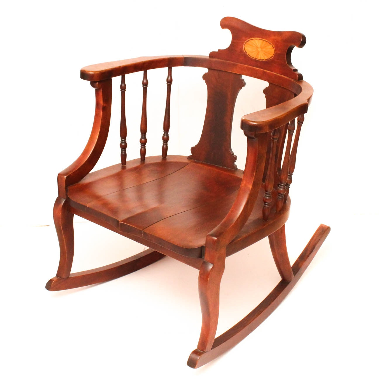 Vintage Mahogany Inlaid Rocking Chair
