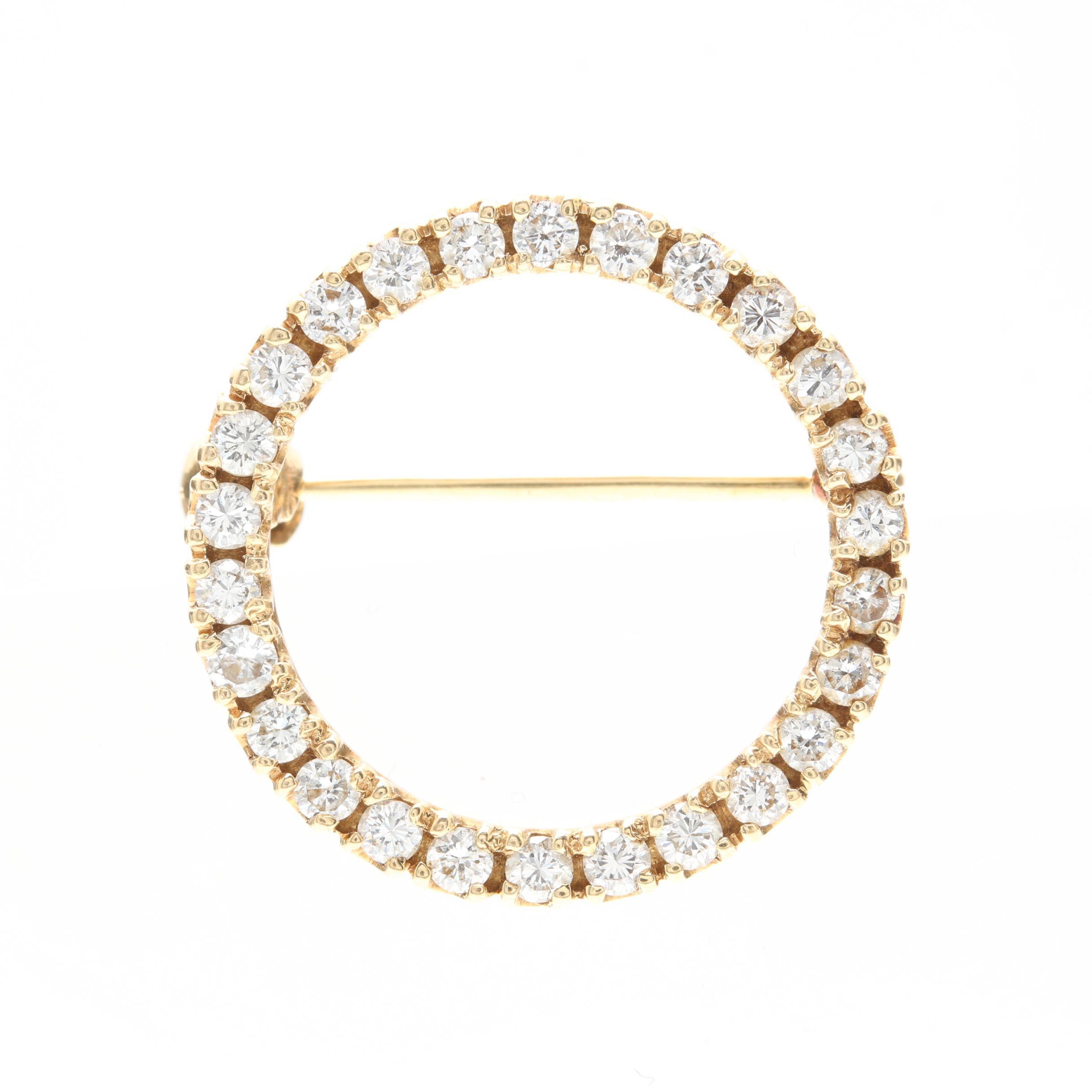 14K Yellow Gold Diamond Brooch