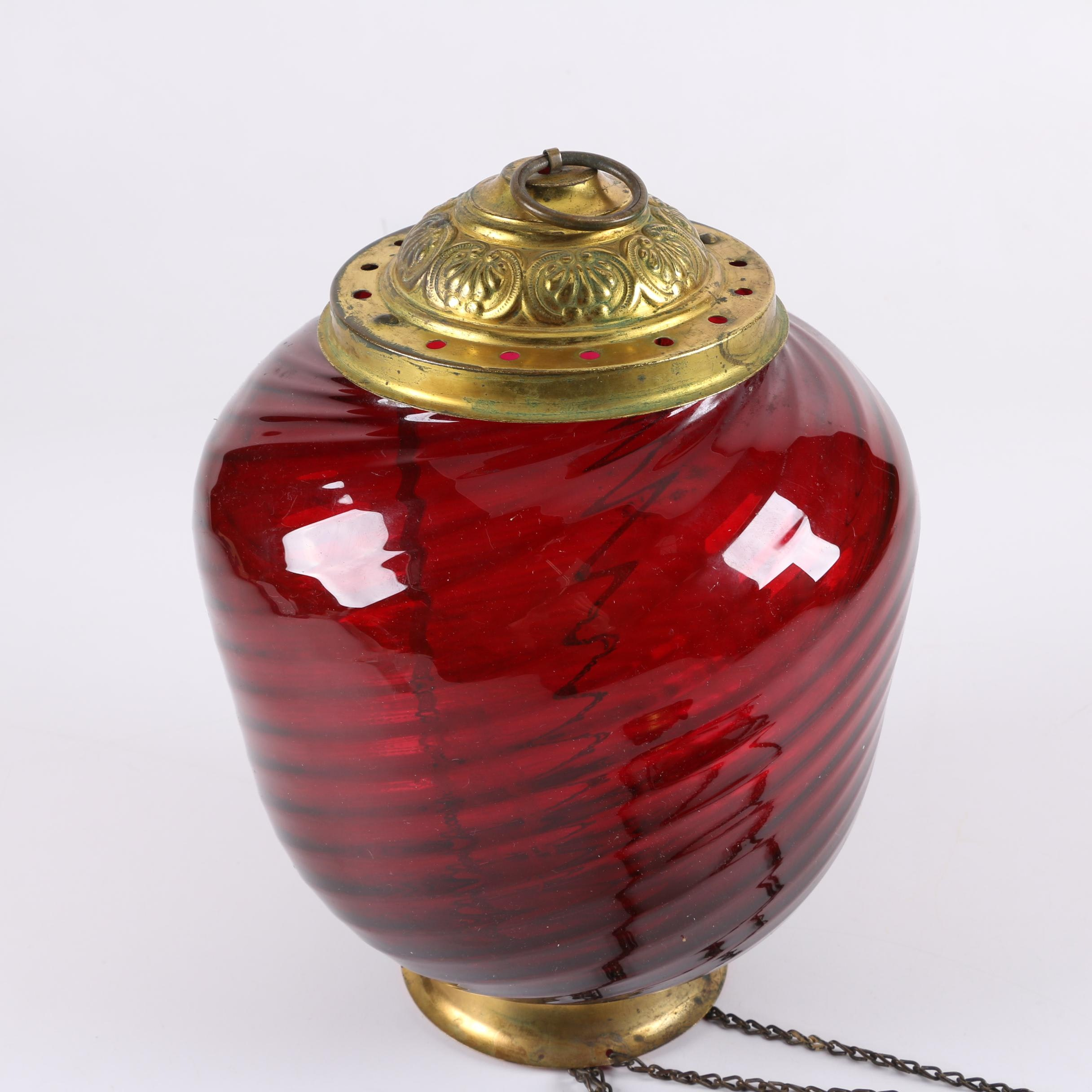 Antique Ruby Glass Hanging Pendant