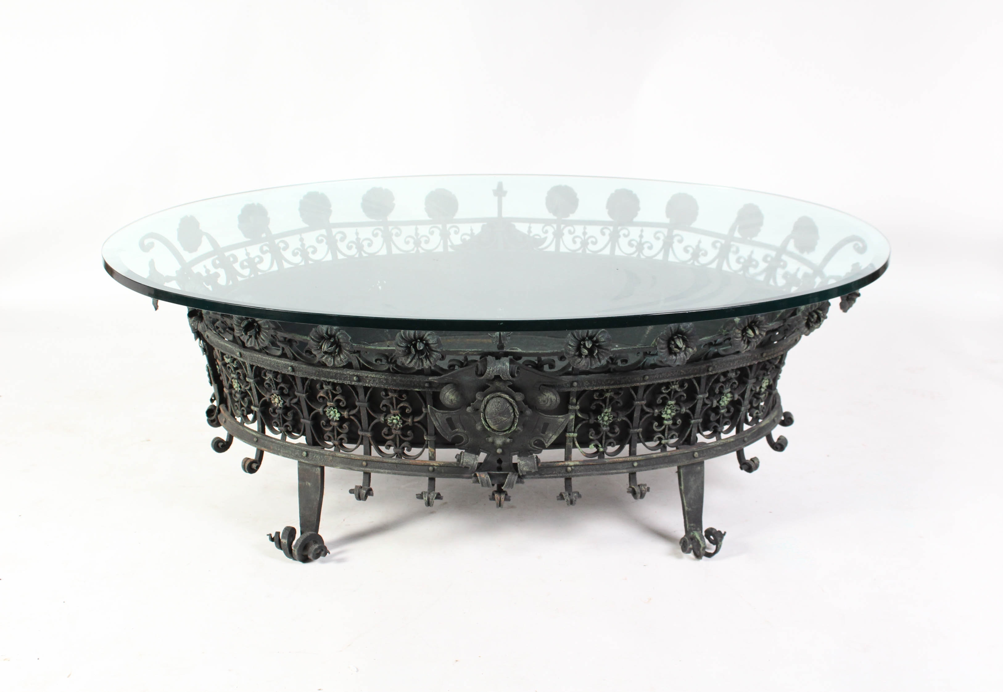 Vintage Baroque Style Glass Top Coffee Table