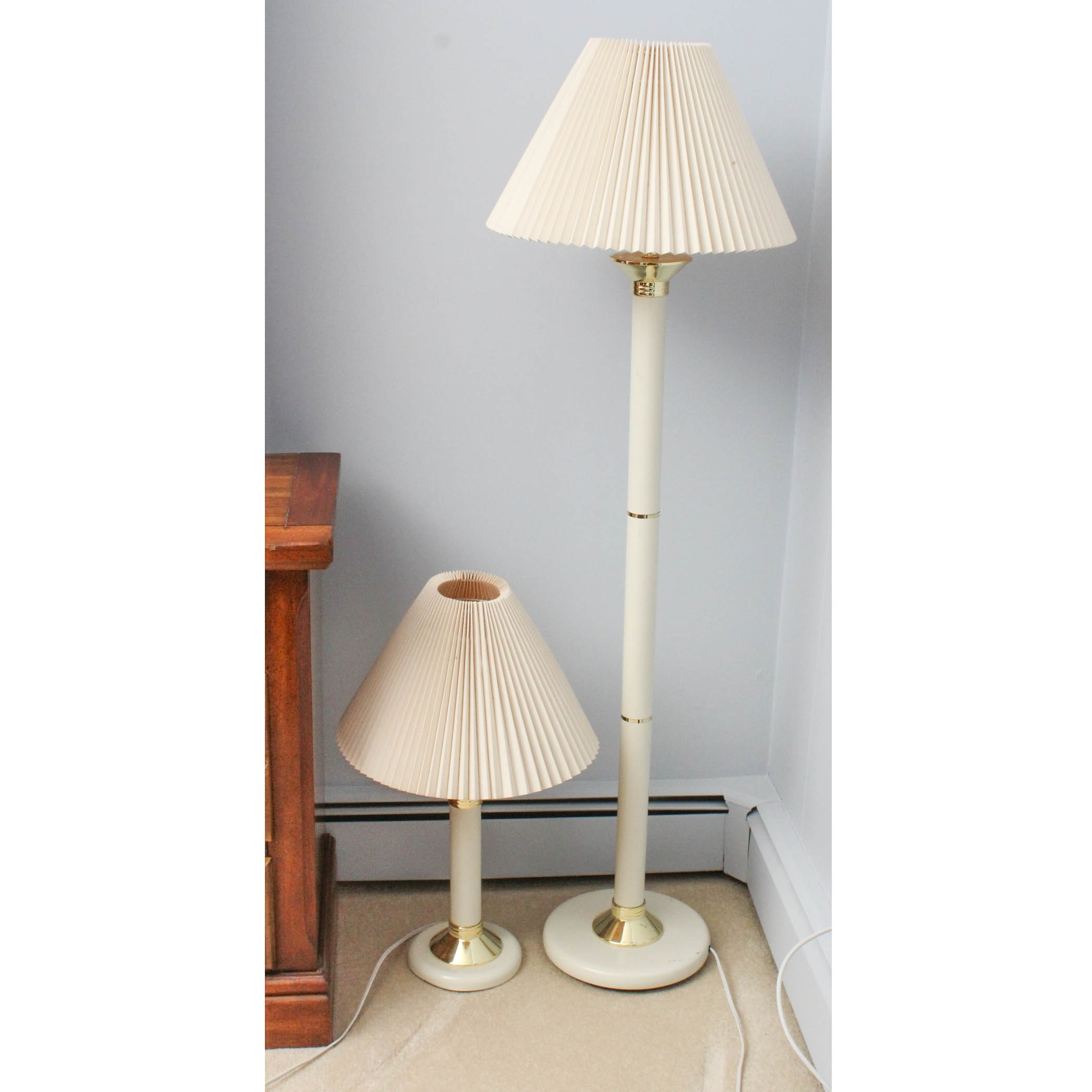 Contemporary White Metal Floor and Table Lamps