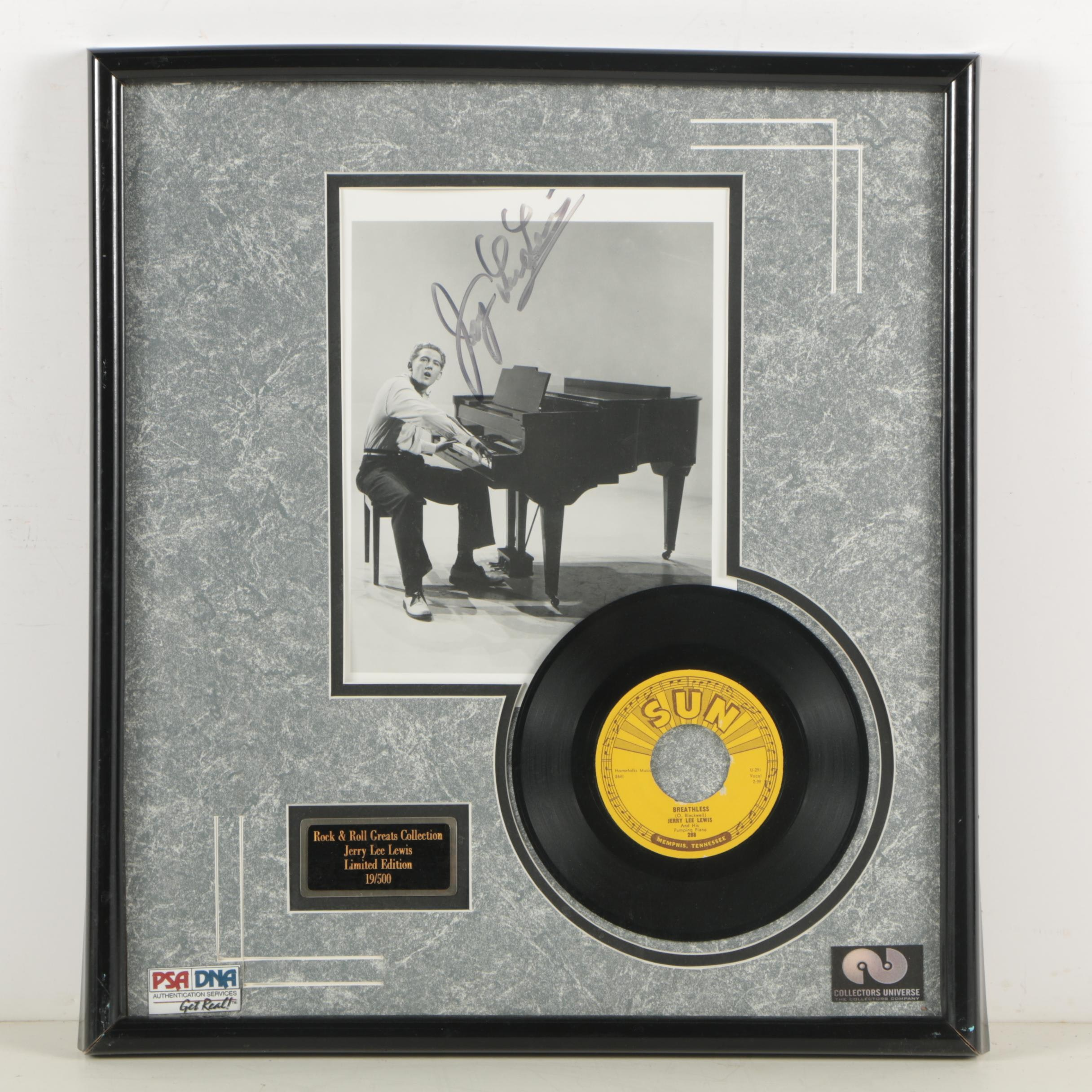 """Jerry Lee Lewis Autographed Photo and Record """"Breathless"""" - PSA/DNA COA"""