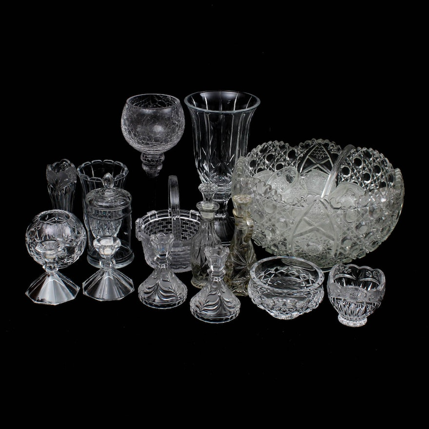 Vintage Cut And Pressed Glass Vases Tableware And More Ebth