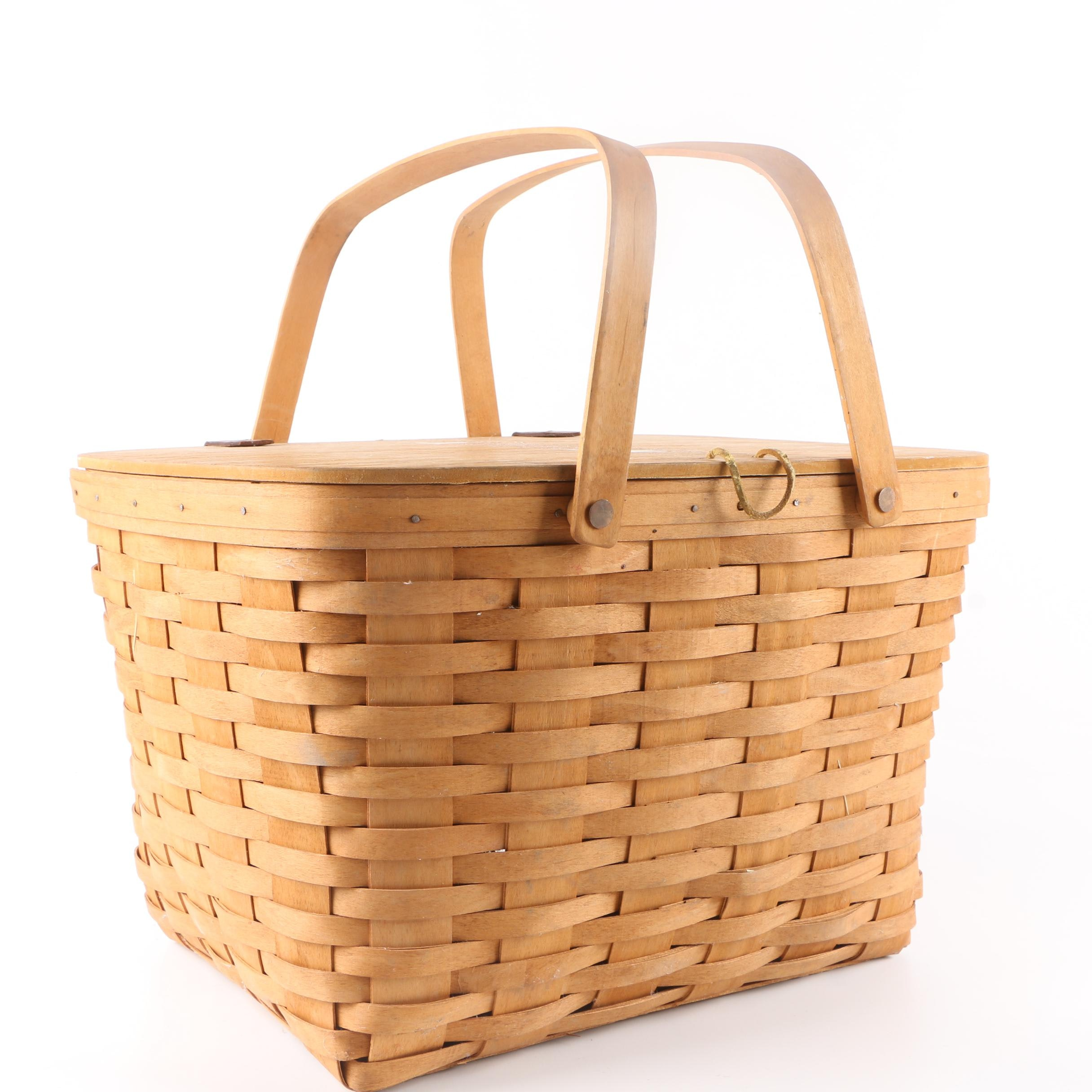 Longaberger Handwoven Picnic Basket With Liner Dated 1995