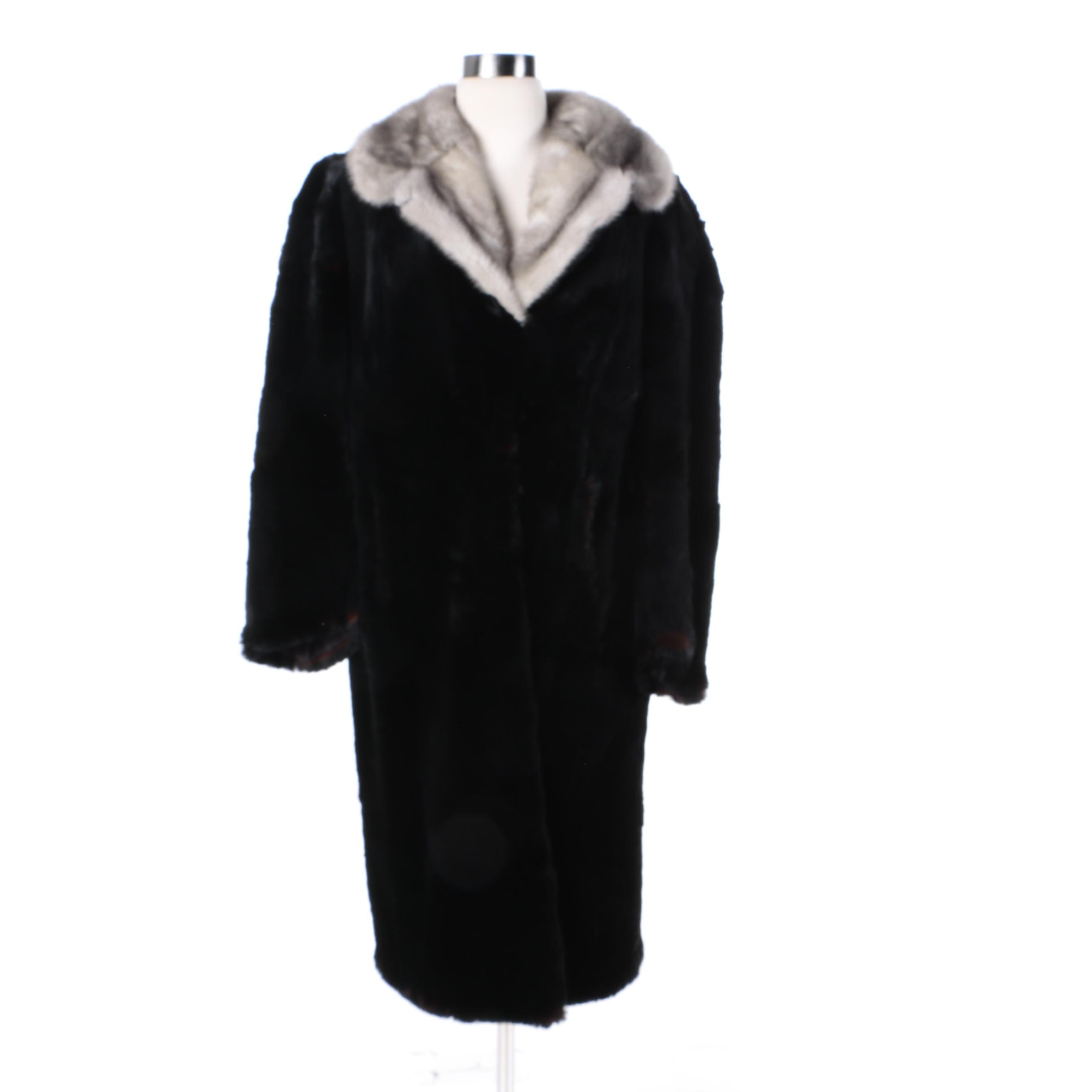 Women's Dyed Black Sheared Beaver Fur Coat with Grey Mink Fur Collar