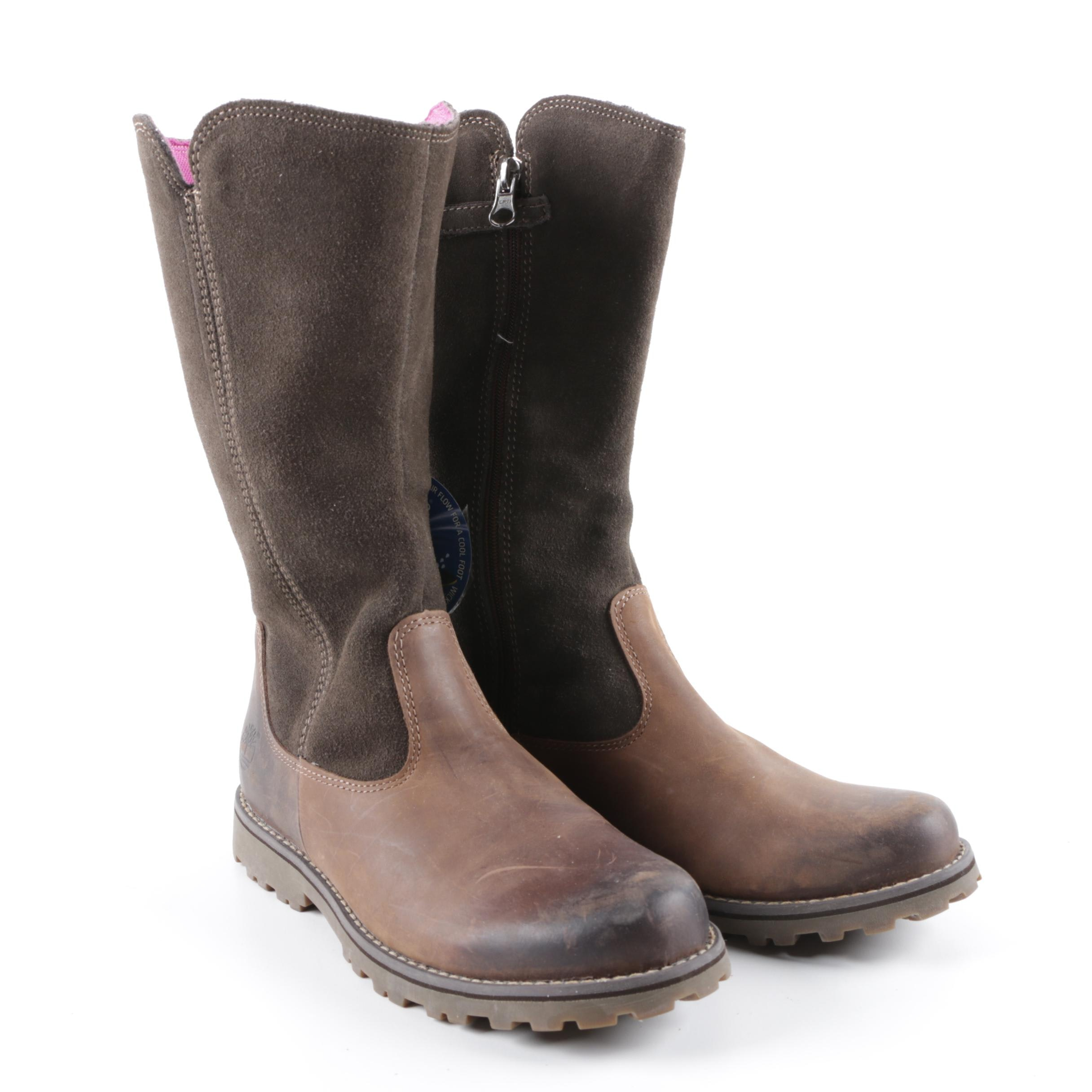 Girls' Timberland Brown Leather and Suede Boots