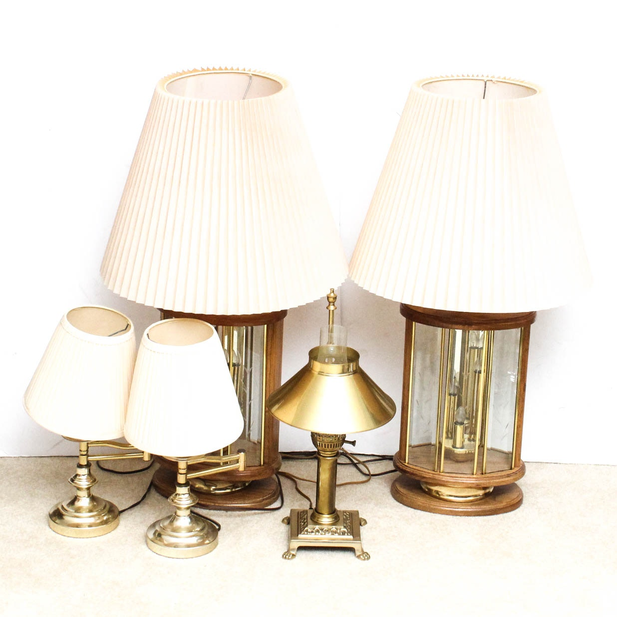 Brass and Wood Table Lamps