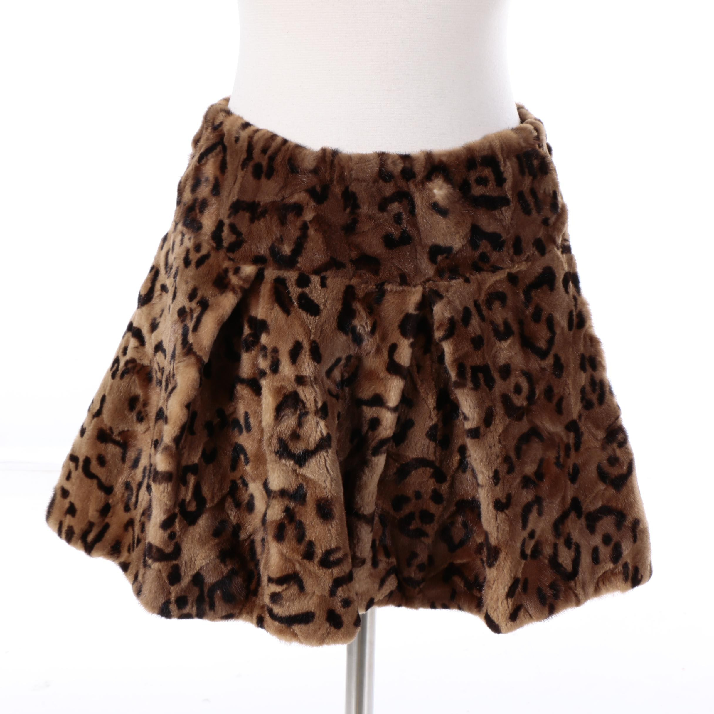 Women's A. Tsagas Leopard Print Dyed Sheared Mink Fur Skirt