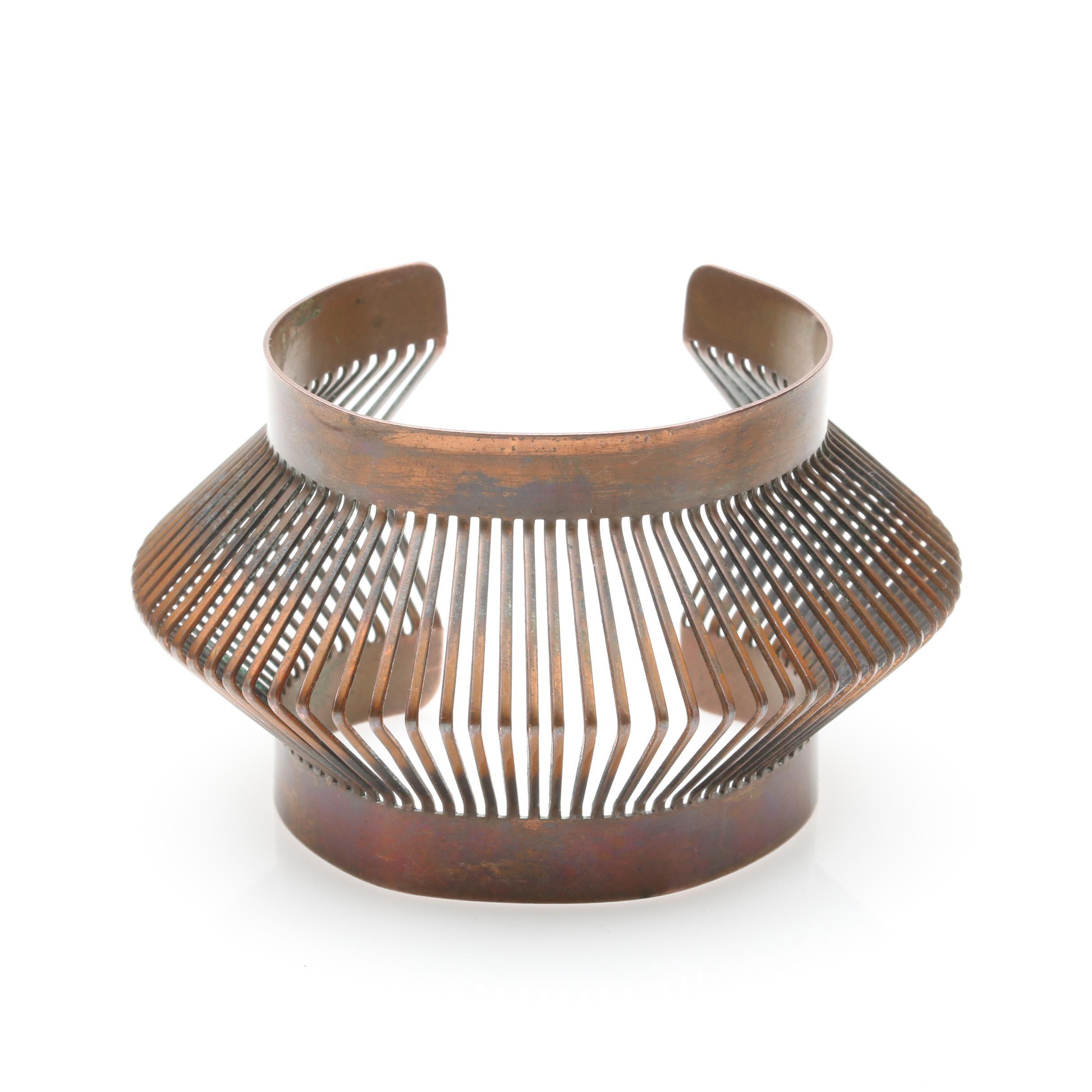 Francisco Rebajes Copper Tone Abstract Cuff Bangle
