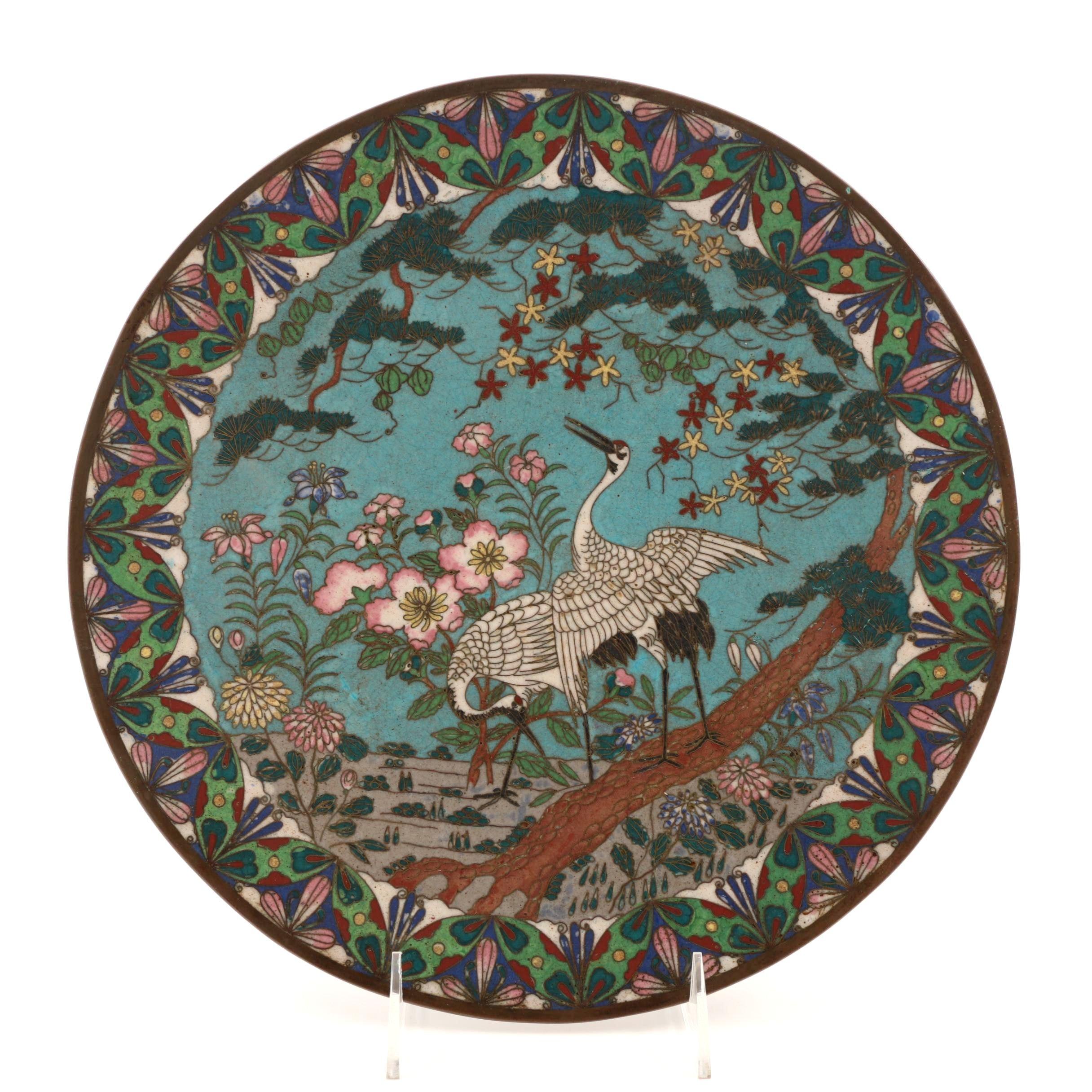 19th Century Japanese Meiji Period Cloisonné Plate