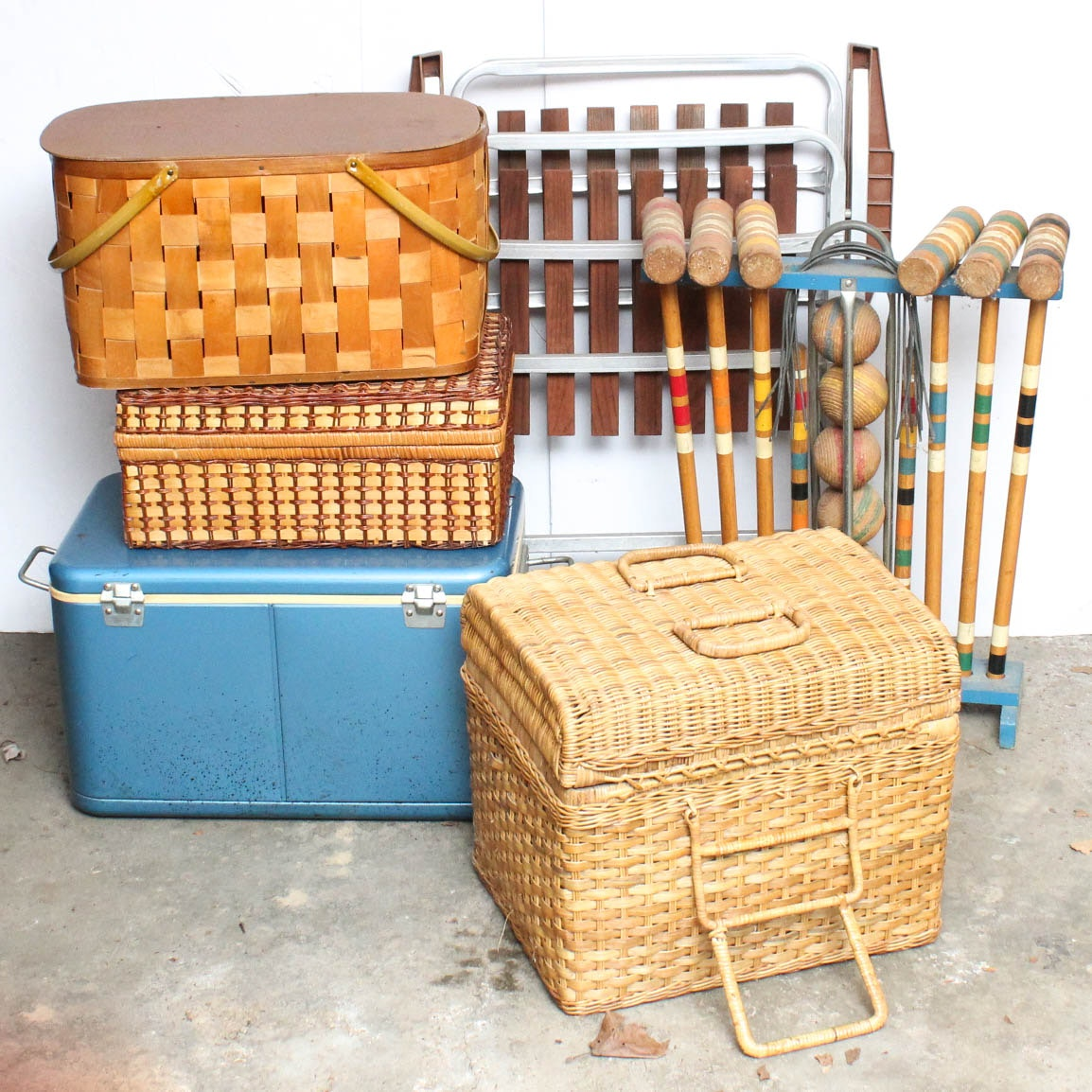 Mid Century Modern Picnic Baskets and Croquet Set