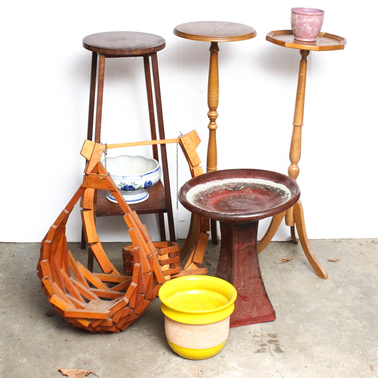 Plant Stands, Hanging Baskets and Birdbath