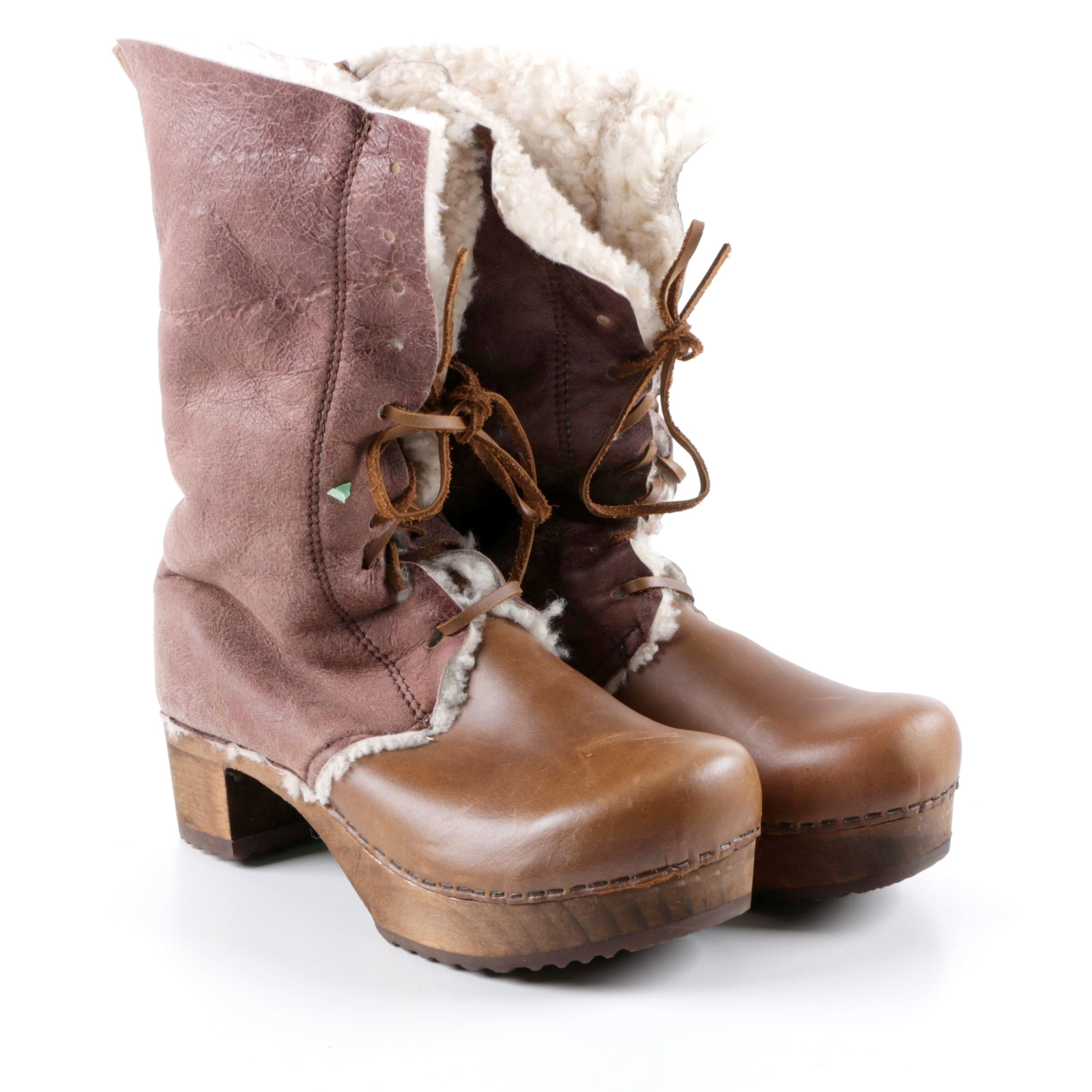 Sanita Brown Shearling and Leather Boots