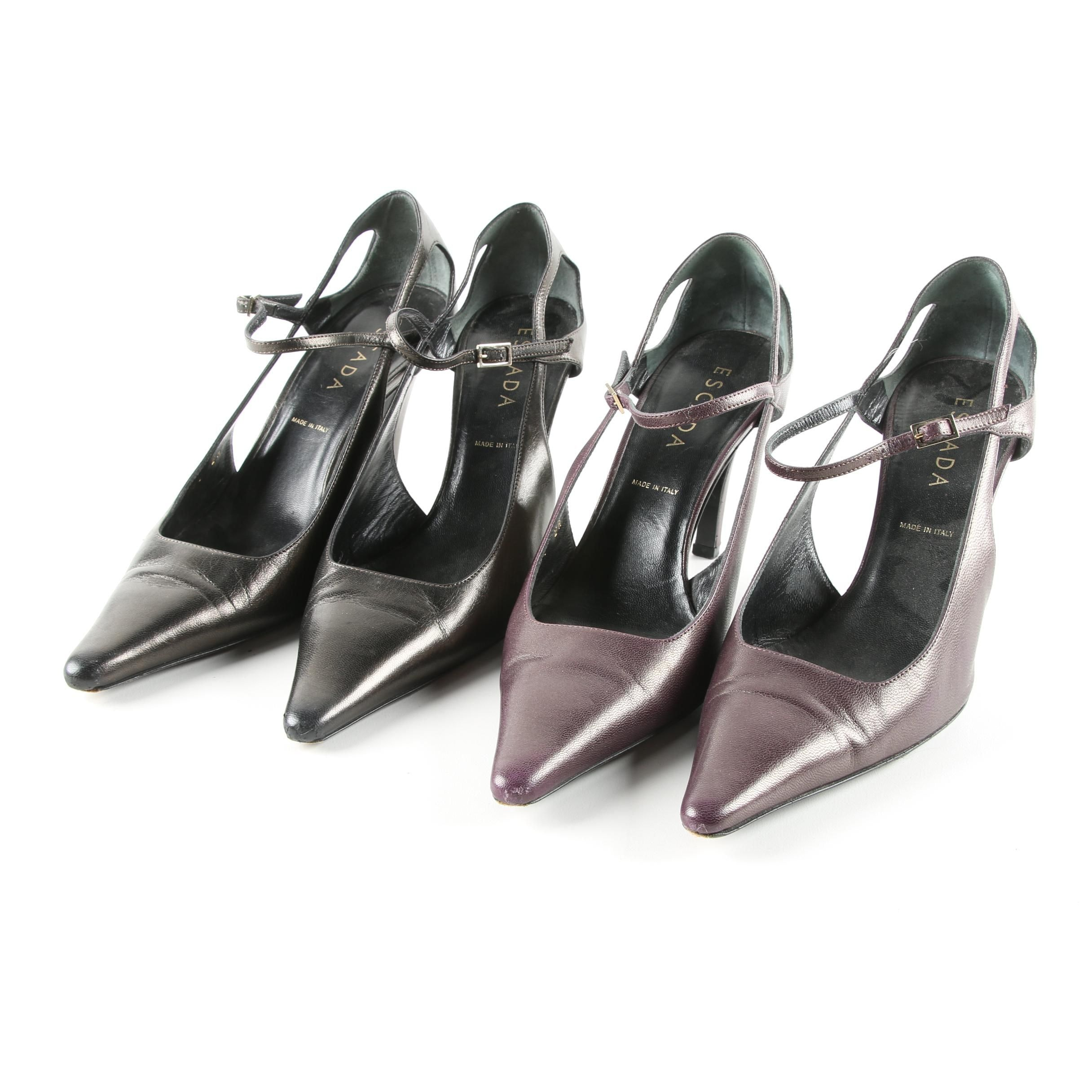 Escada Purple and Gunmetal Leather Heels
