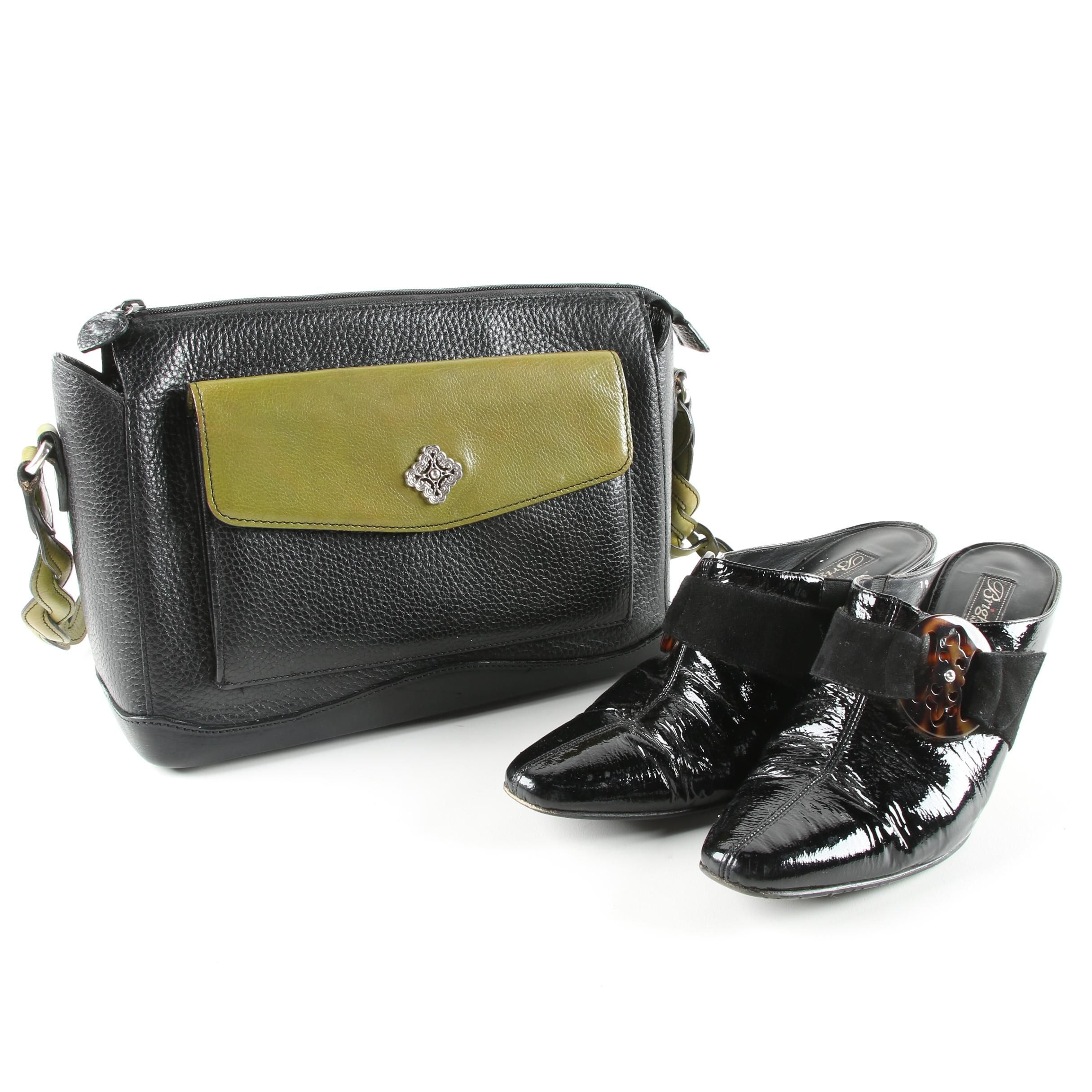 Brighton Rococo Black Patent Leather Mules and Black and Olive Leather Bag