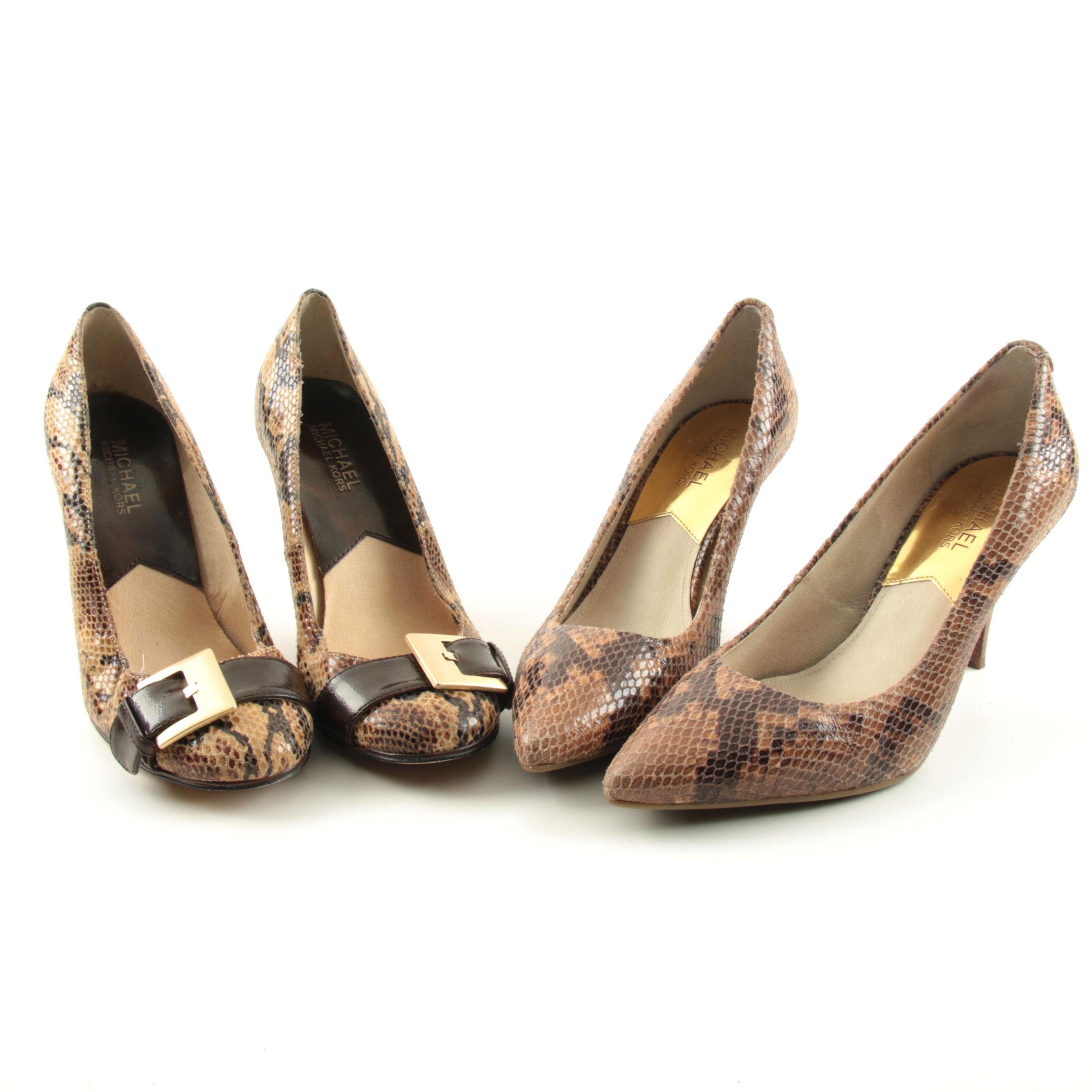 Women's MICHAEL Michael Kors Snake Embossed Heels