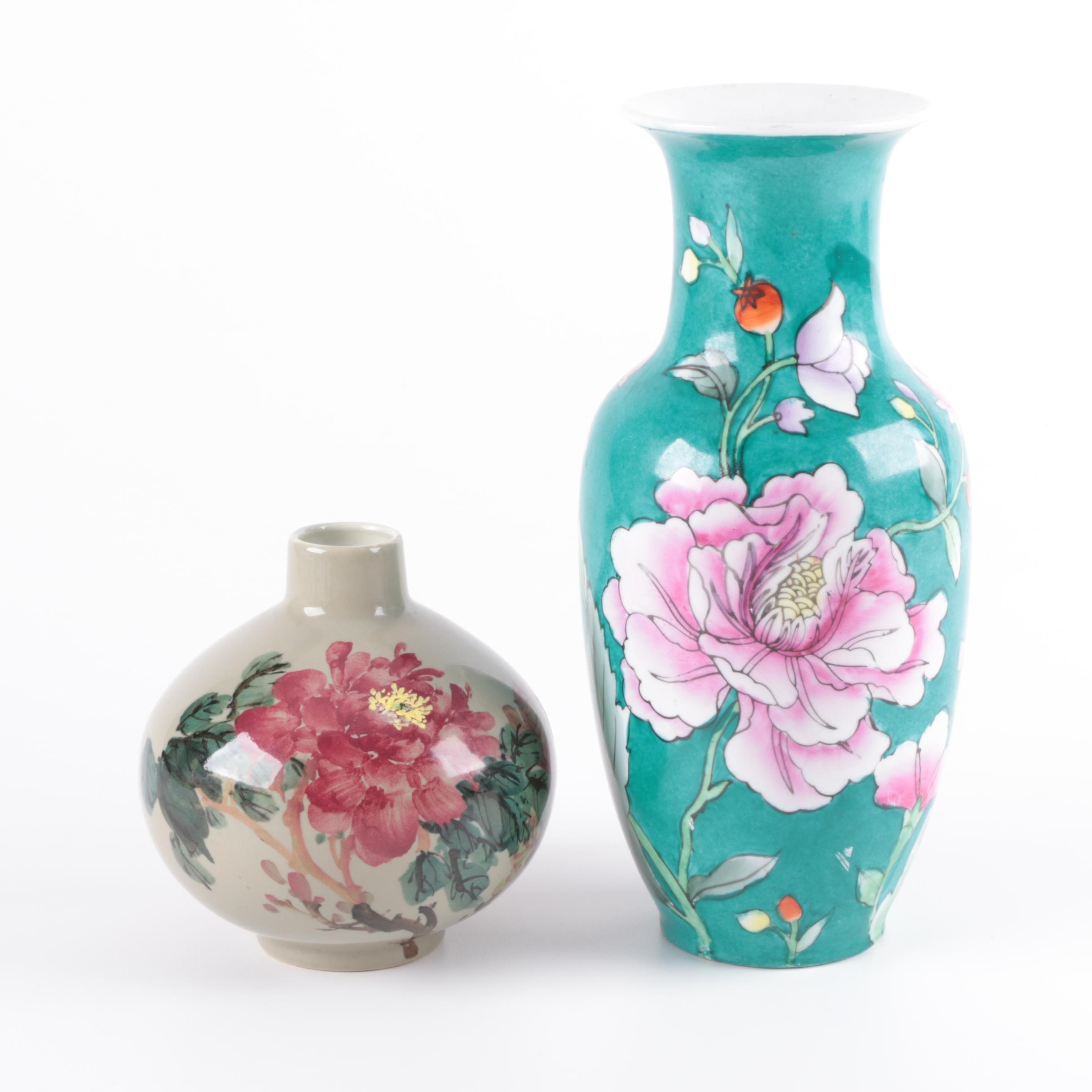 Chinese Floral Themed Ceramic Vases