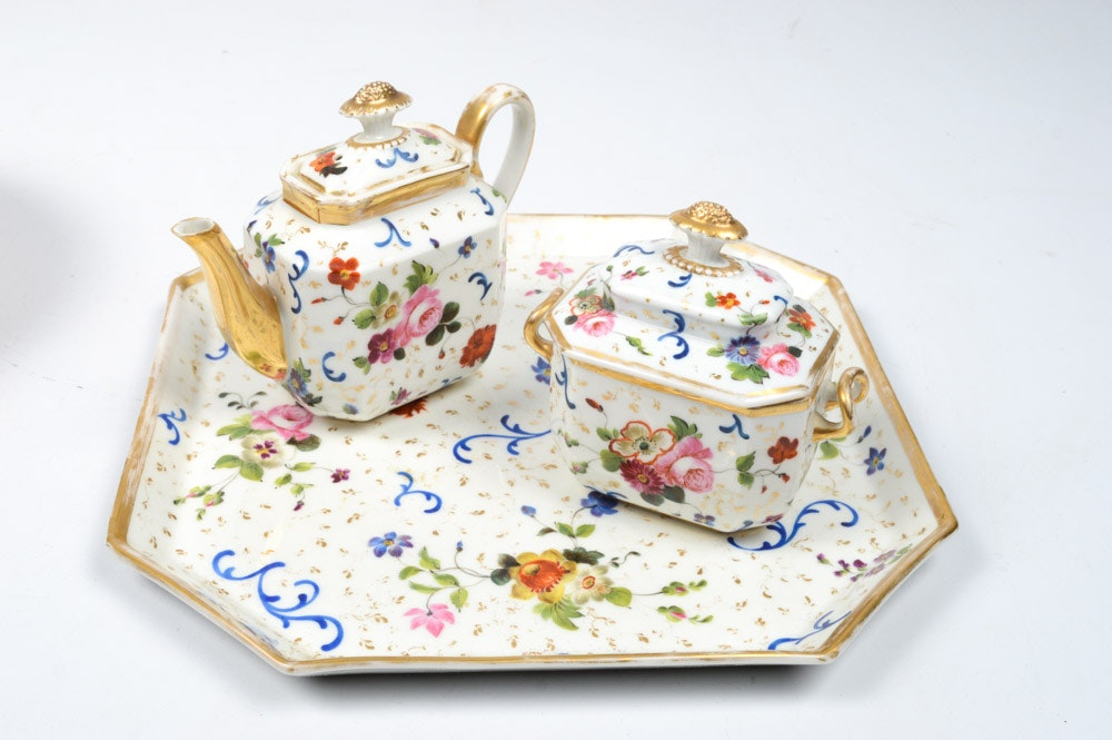 Antique Hand-Painted Porcelain Tea Set