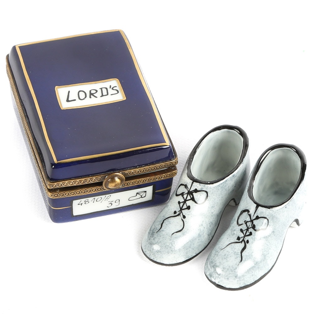 """Chanille Limoges Porcelain Miniature """"Lord's"""" Shoe Box"""