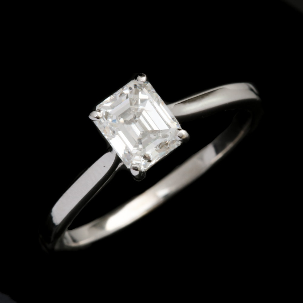 14K White Gold and 1.00 CT Emerald Cut Diamond Solitaire Ring