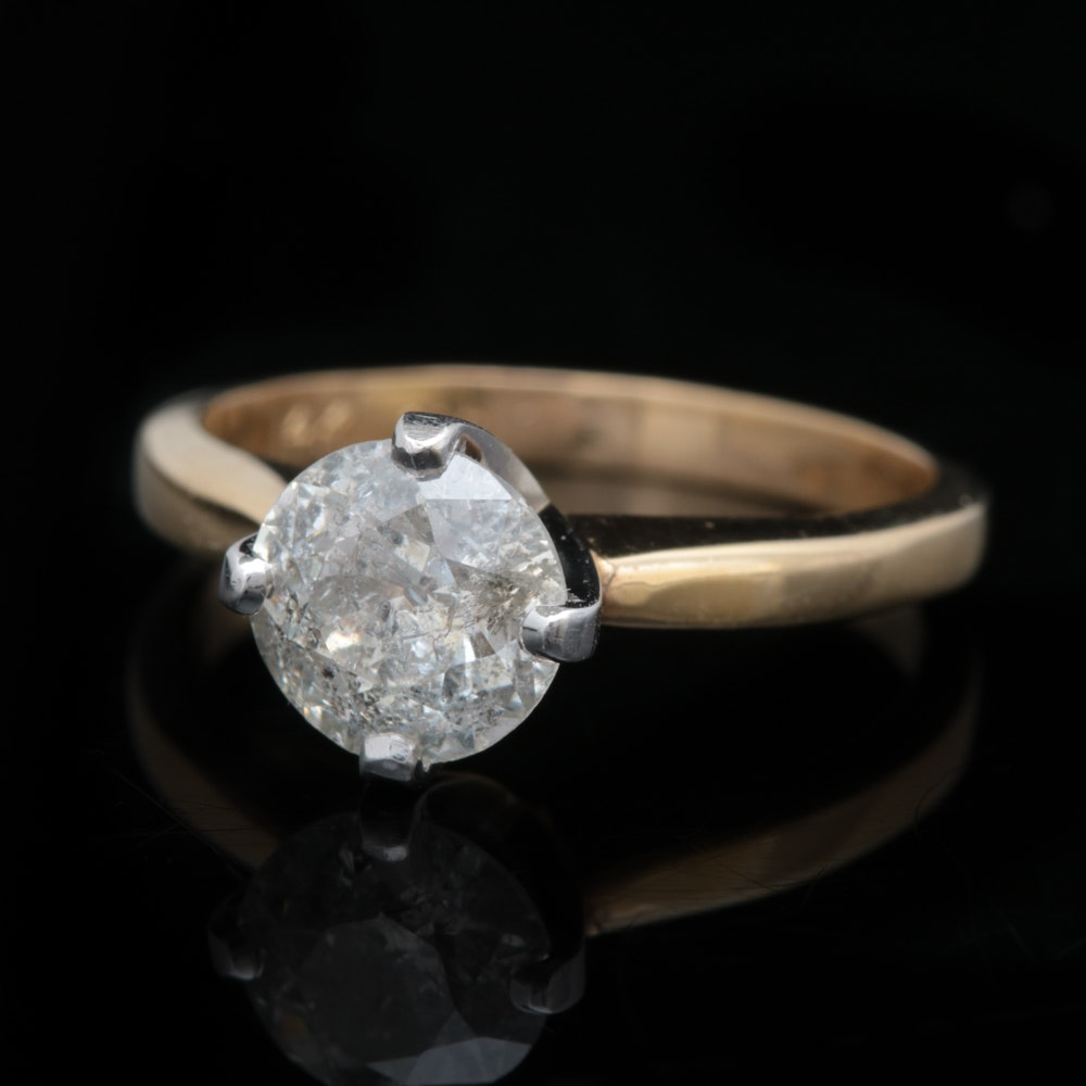 14K Two-Tone Gold and 1.50 CT Diamond Solitaire Ring