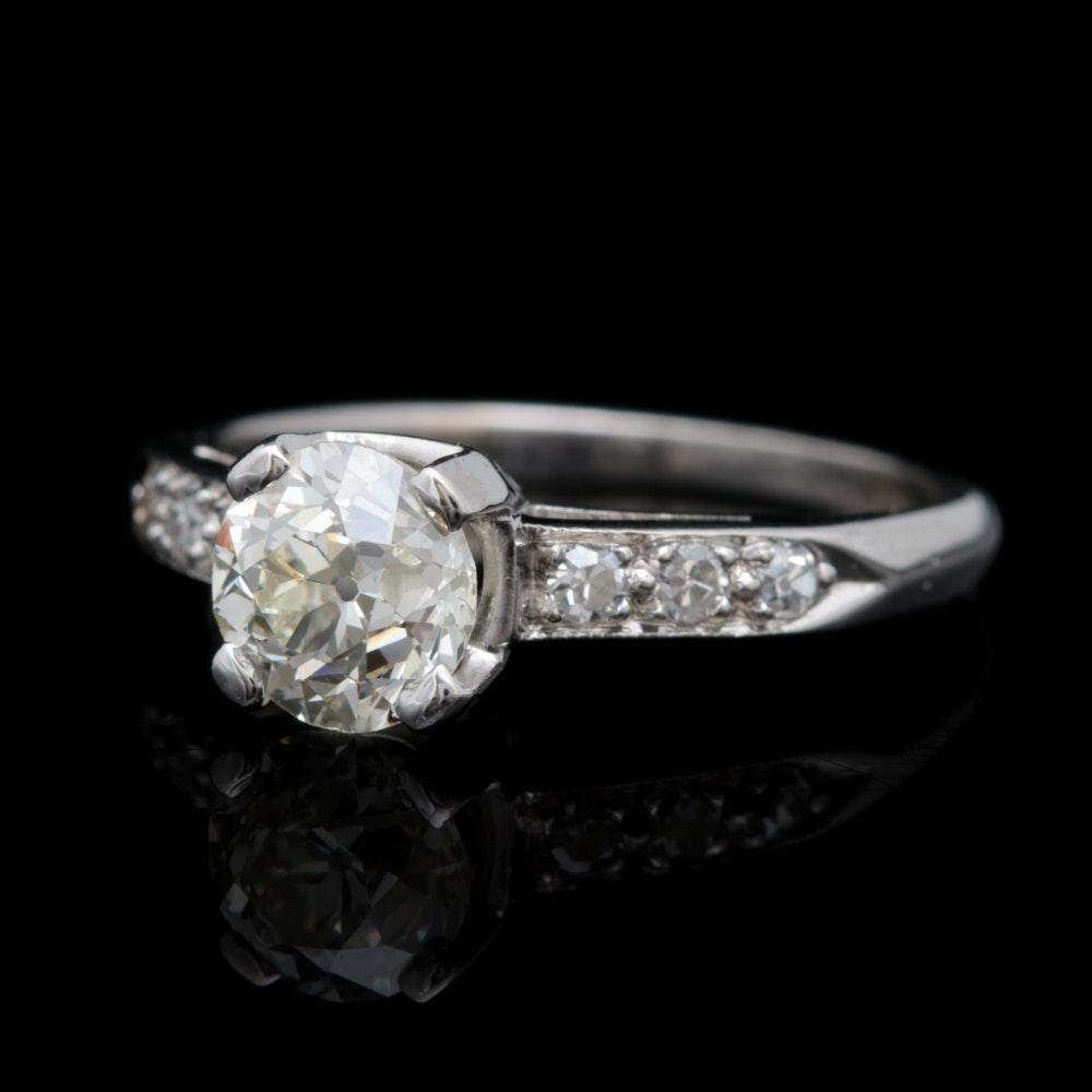Platinum and 1.00 CTW Diamond Engagement Ring