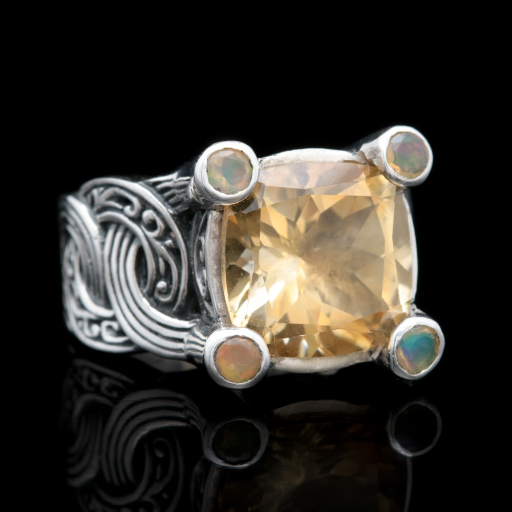 Robert Manse Sterling Silver, 18K Yellow Gold, Citrine and Opal Ring