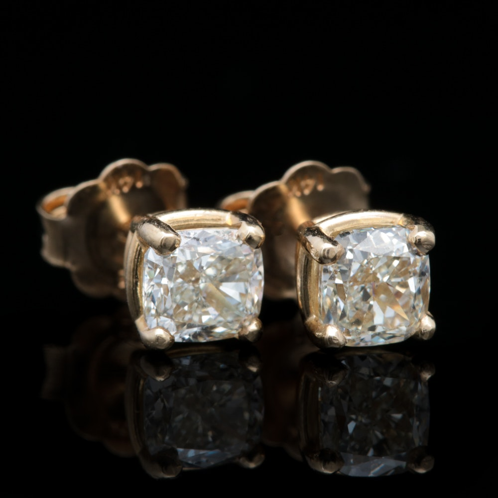14K Yellow Gold and 1.82 CT Cushion Cut Diamond Stud Earrings