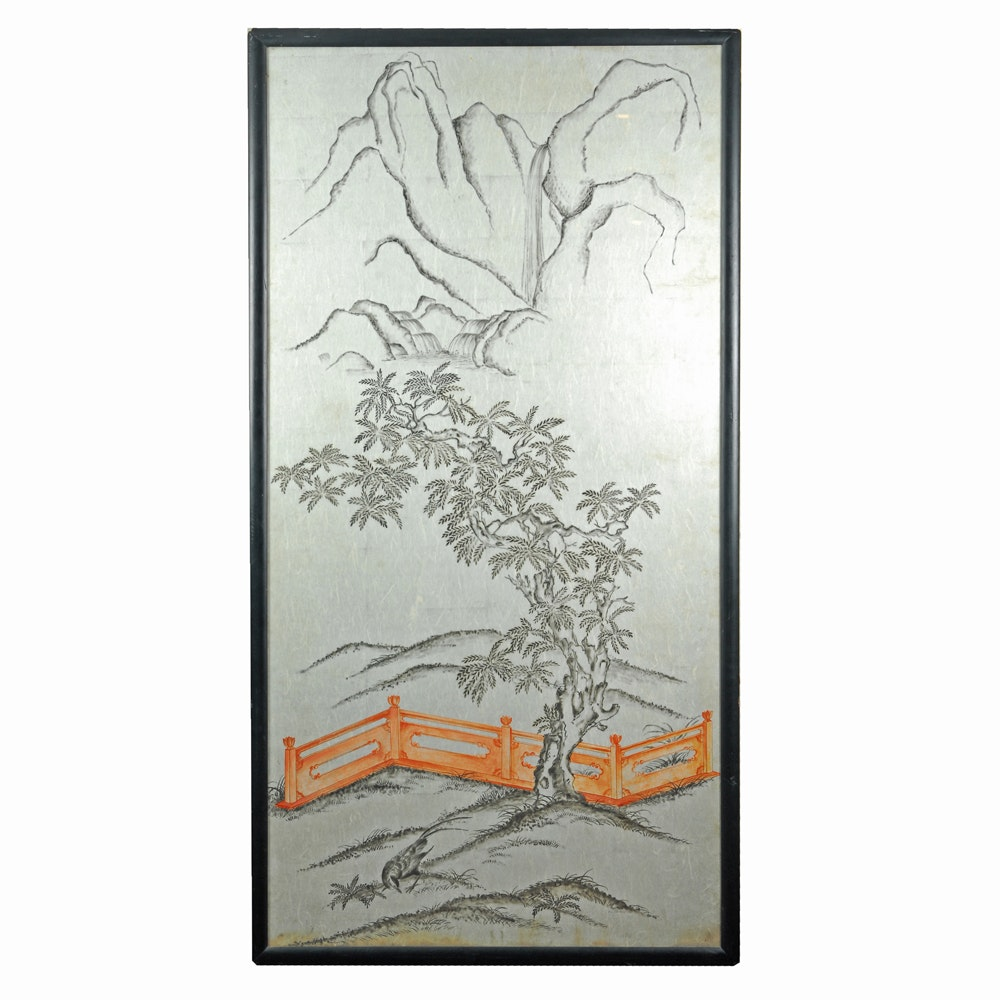 J.C Georgi Watercolor of an East Asian Landscape