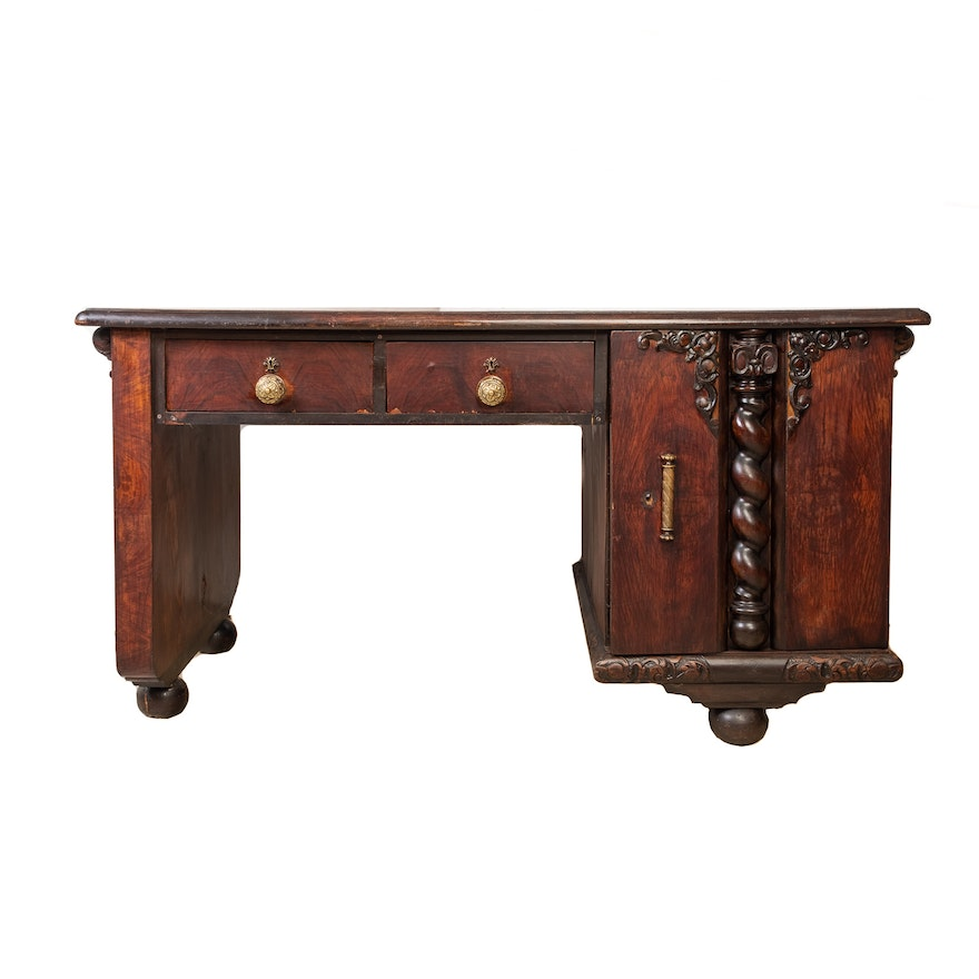 Gothic Style Offset Desk with Barley Twist and Carved Moldings