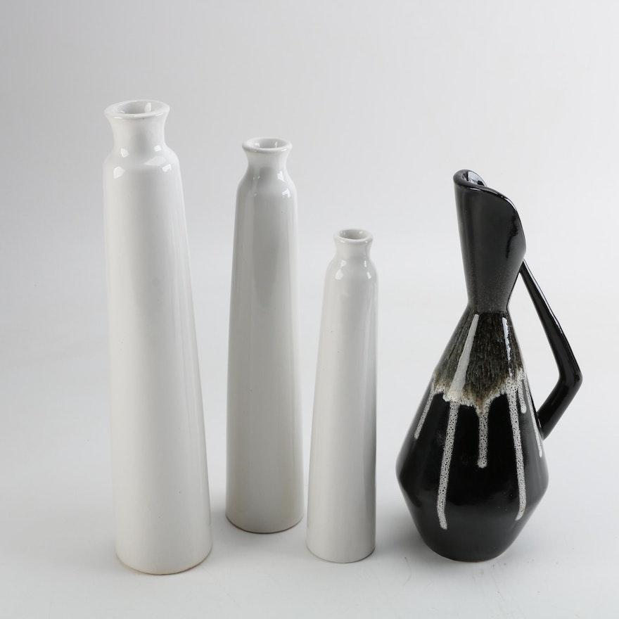 Tall Ceramic Bud Vases And Mid Century Modern Ewer Ebth