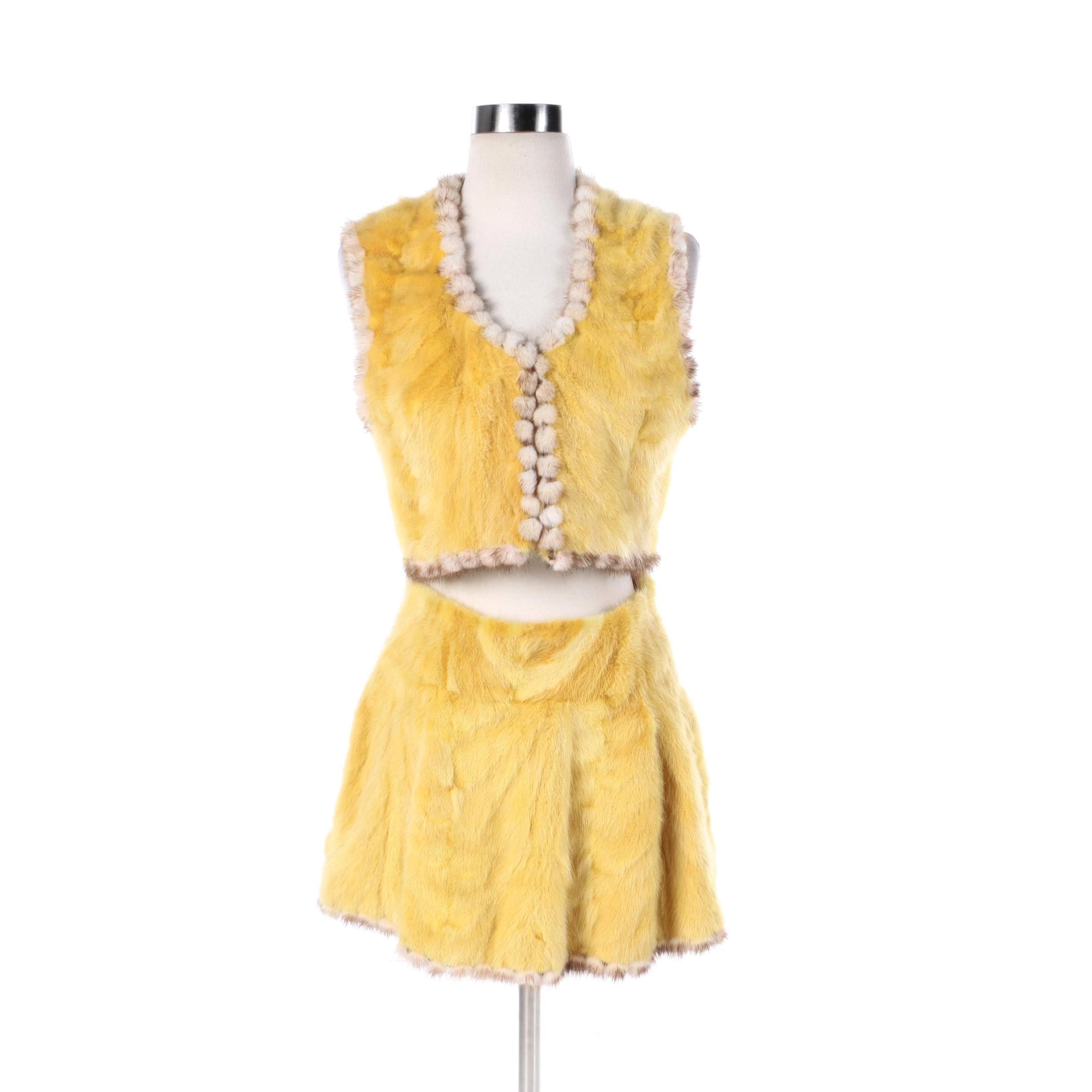 Women's A. Tsagas Yellow Dyed Mink Fur Vest and Mini Skirt