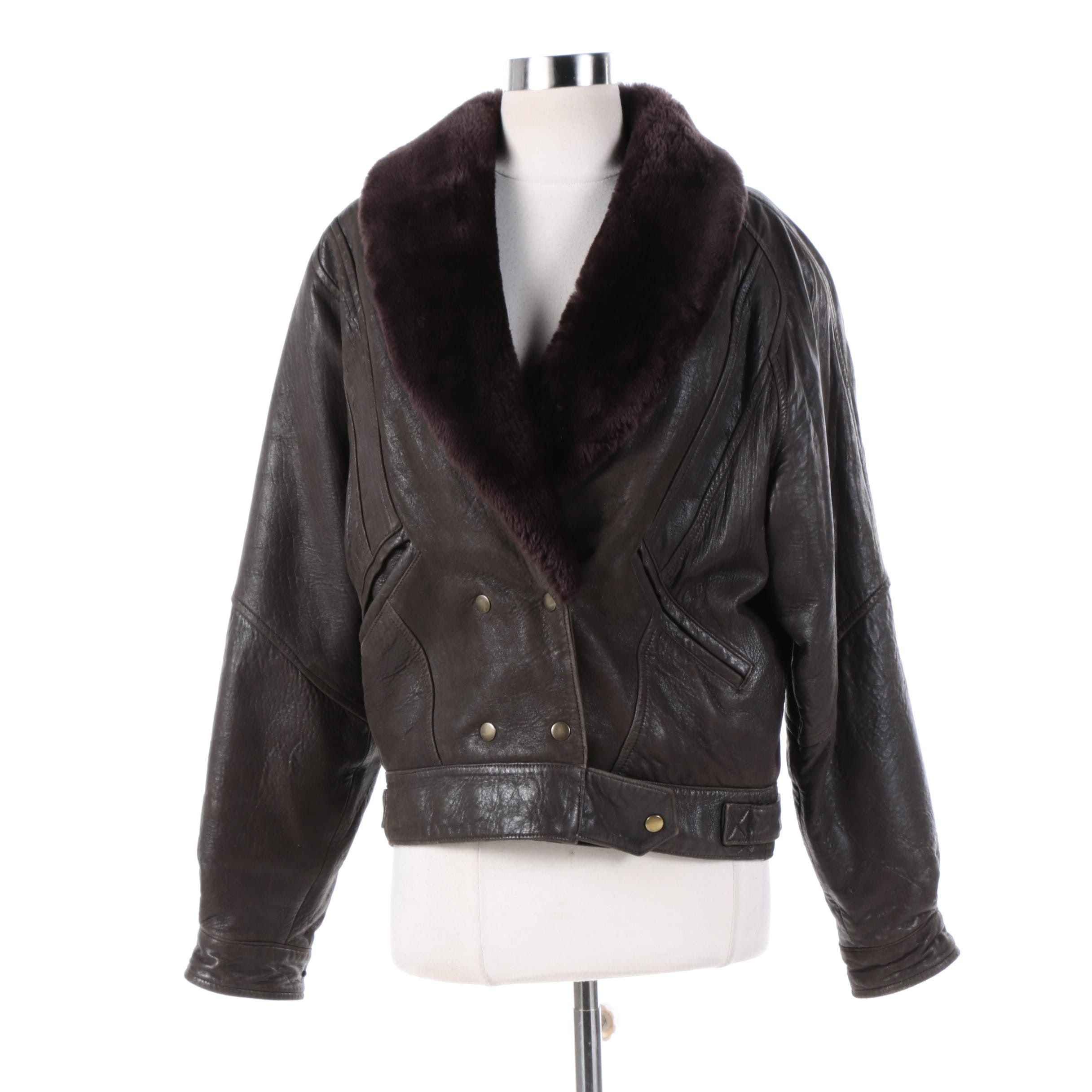 Women's Overland Outfitters Brown Leather Bomber Jacket with Faux Fur Collar