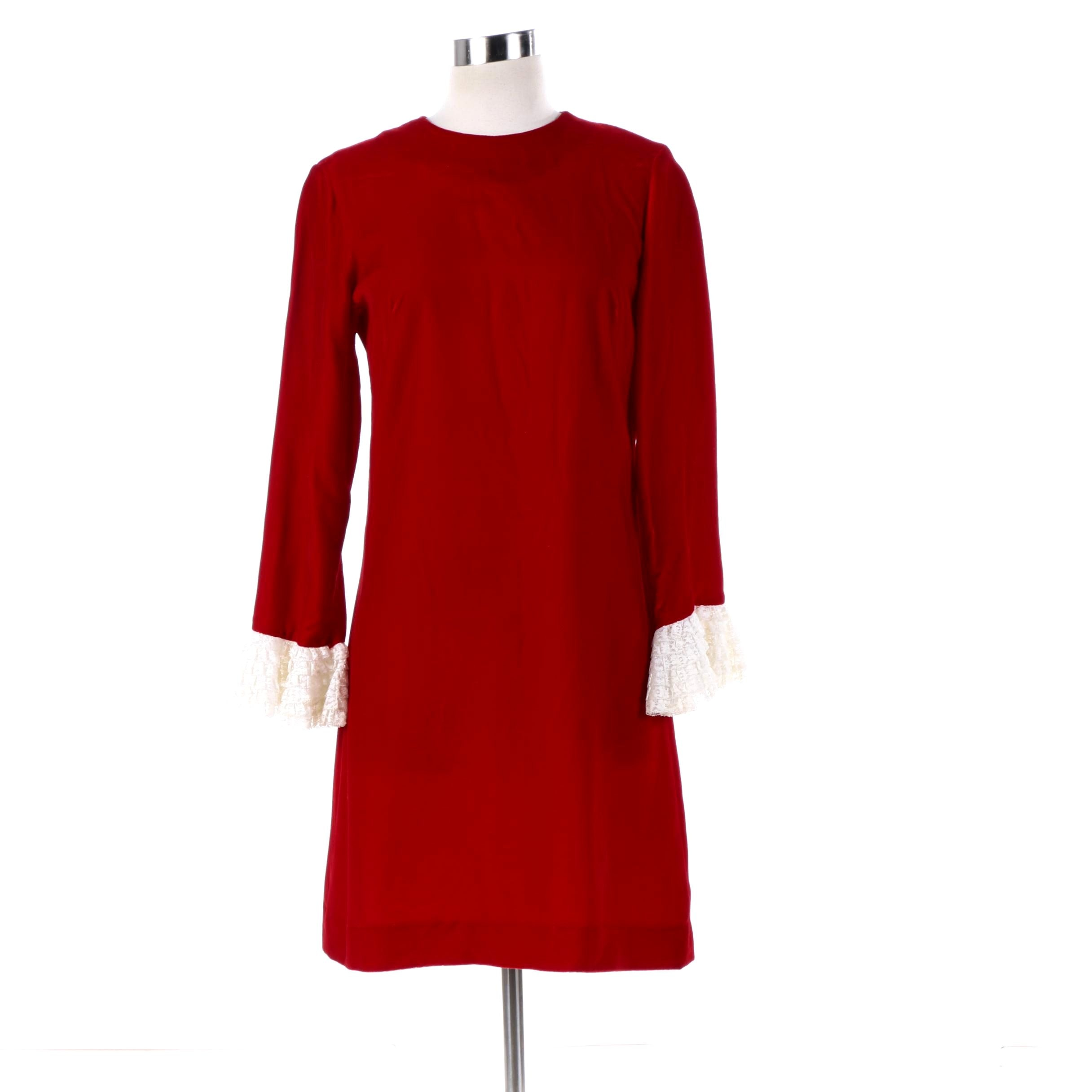 Circa 1960s Vintage Teena Paige Red Velvet Dress with Lace Ruffle Sleeve Cuffs