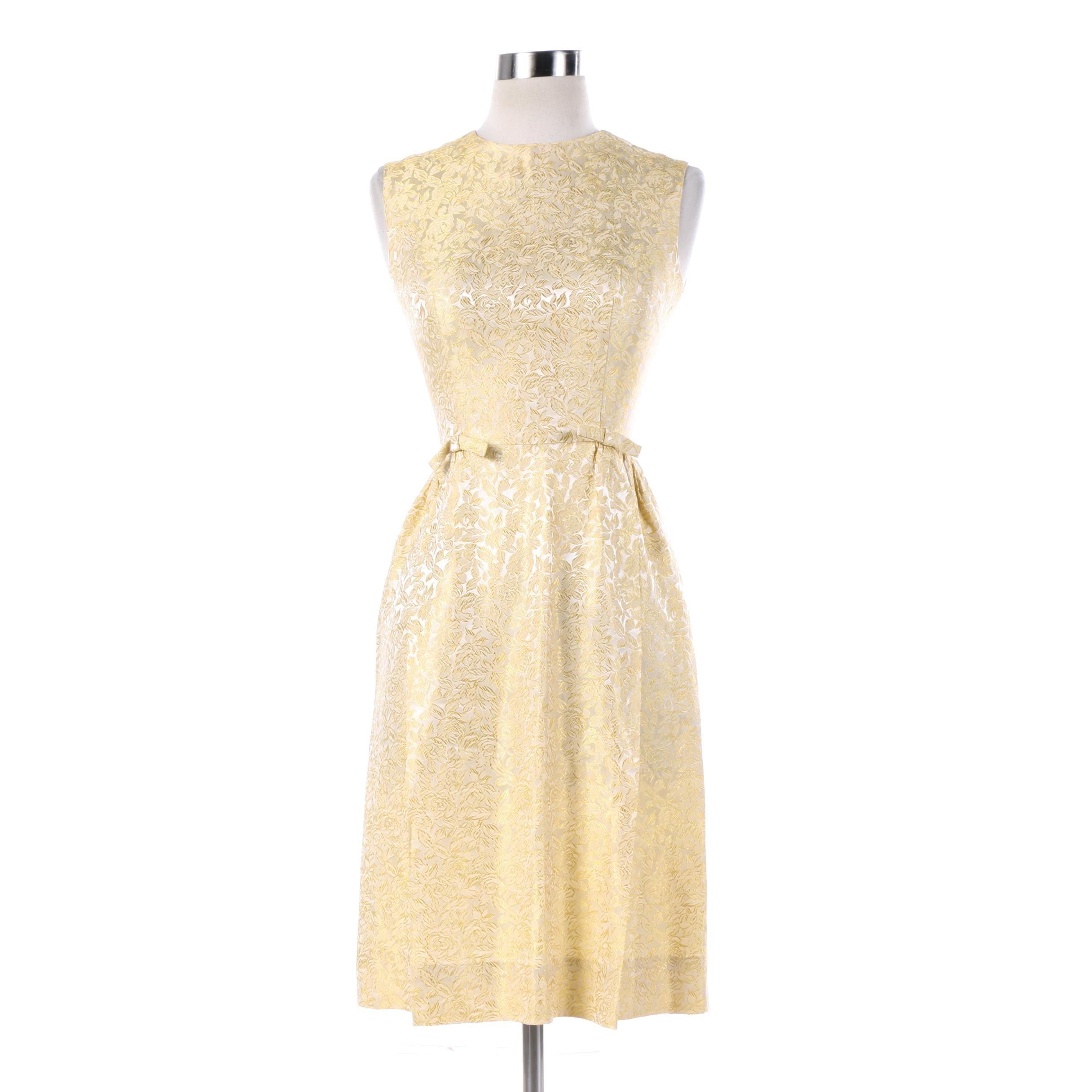 Vintage Gold and Cream Floral Brocade Sleeveless Cocktail Dress