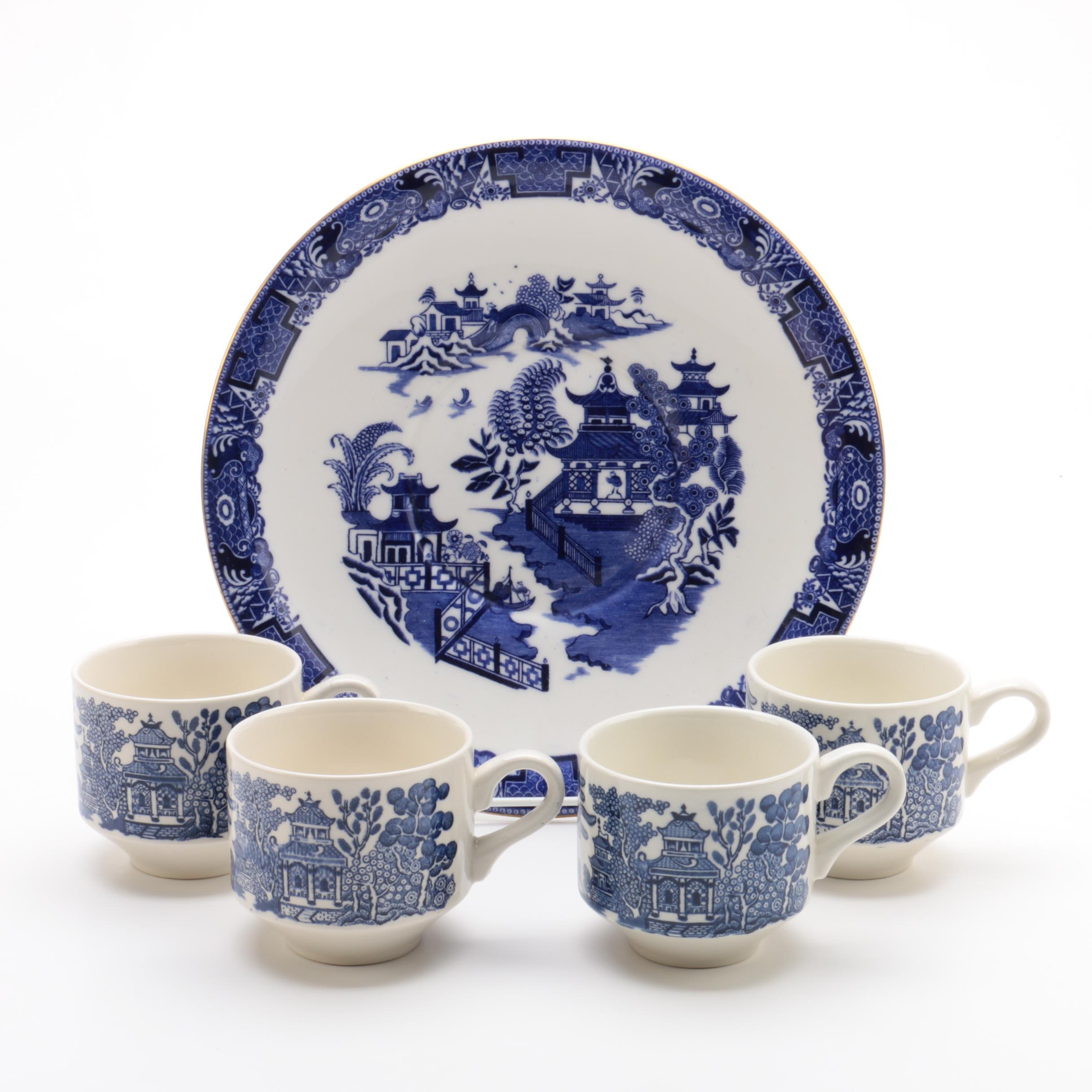 Churchill  Blue Willow  Cups and Royal Worcester Dinner Plate ...  sc 1 st  EBTH.com & Churchill