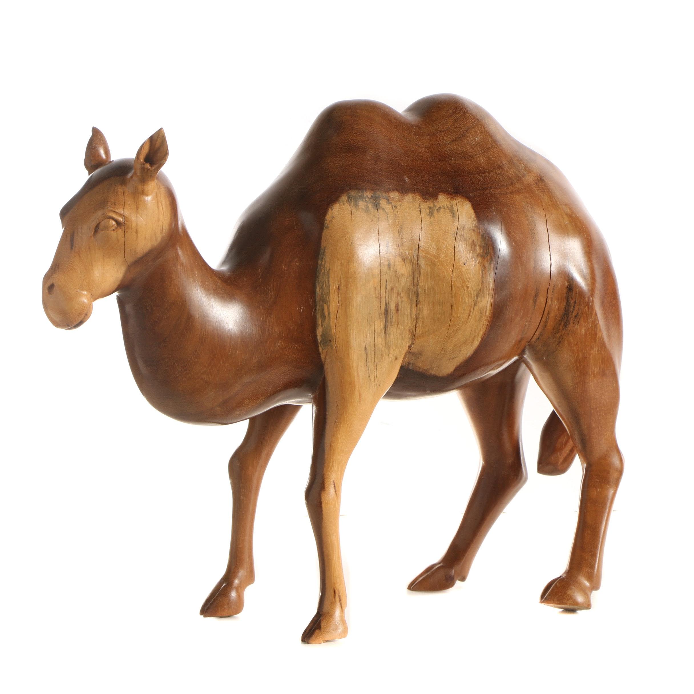 Carved Wooden Sculpture of a Camel