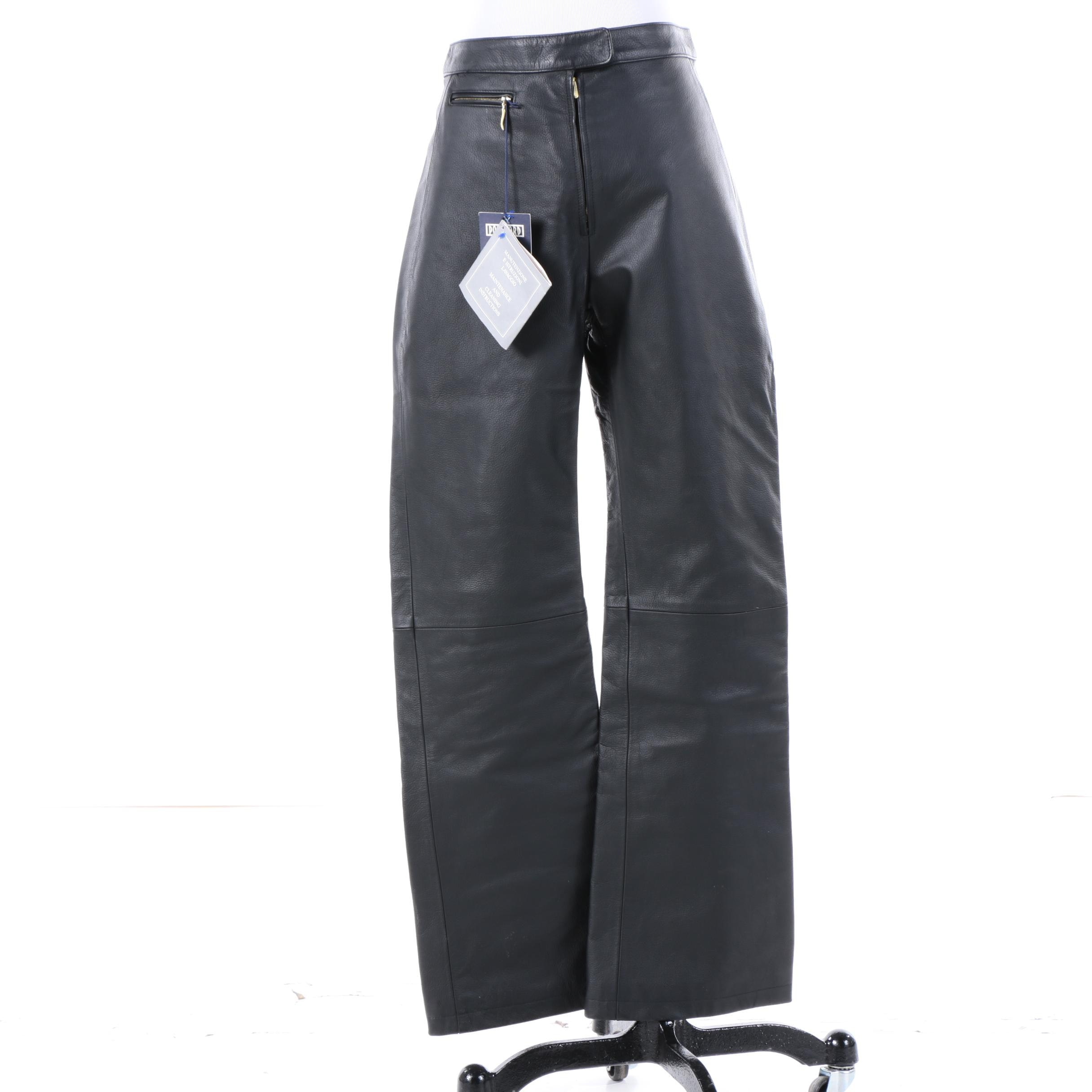 Women's Post Card Black Leather Ski Pants