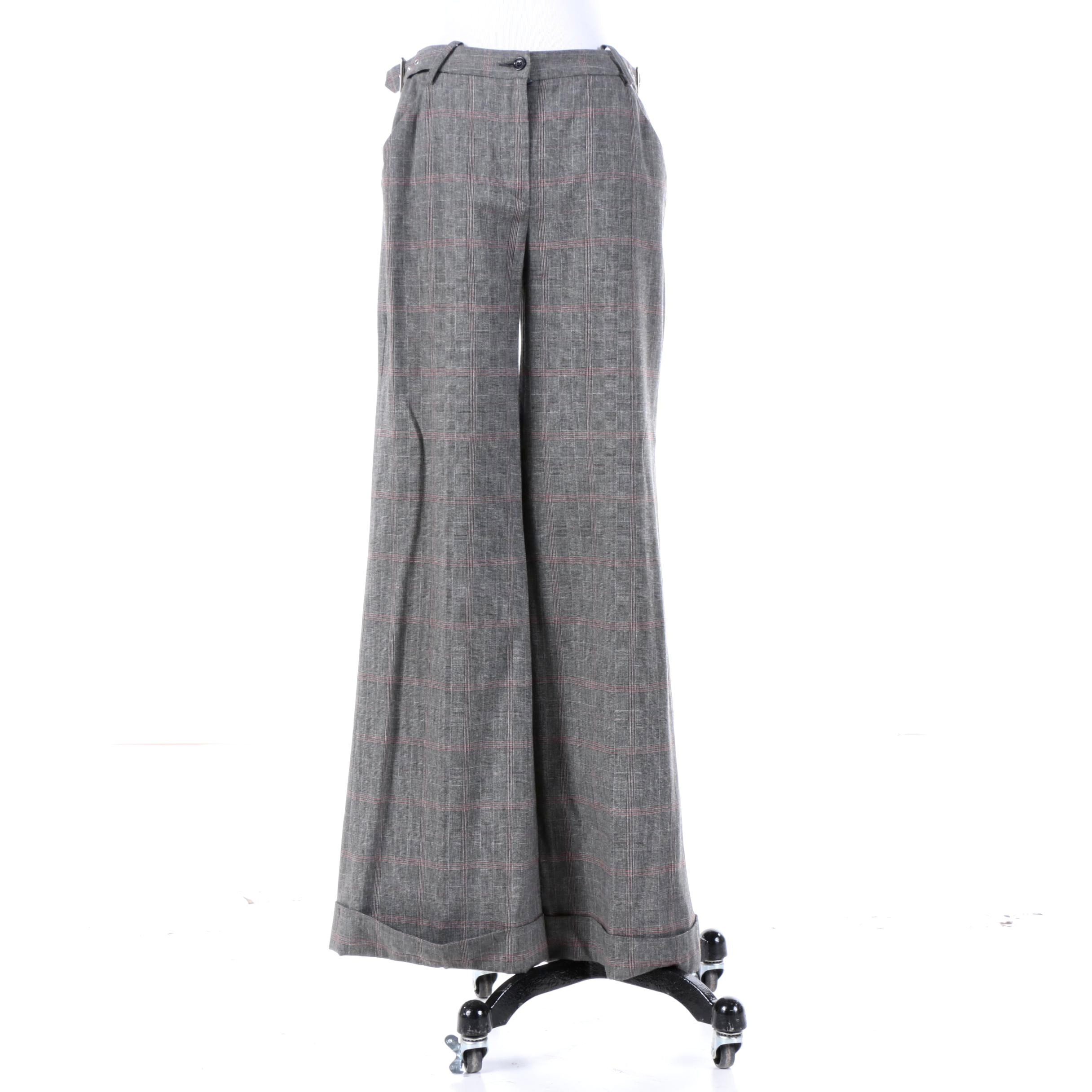 Women's D&G Dolce & Gabbana Plaid Wool Blend Pants