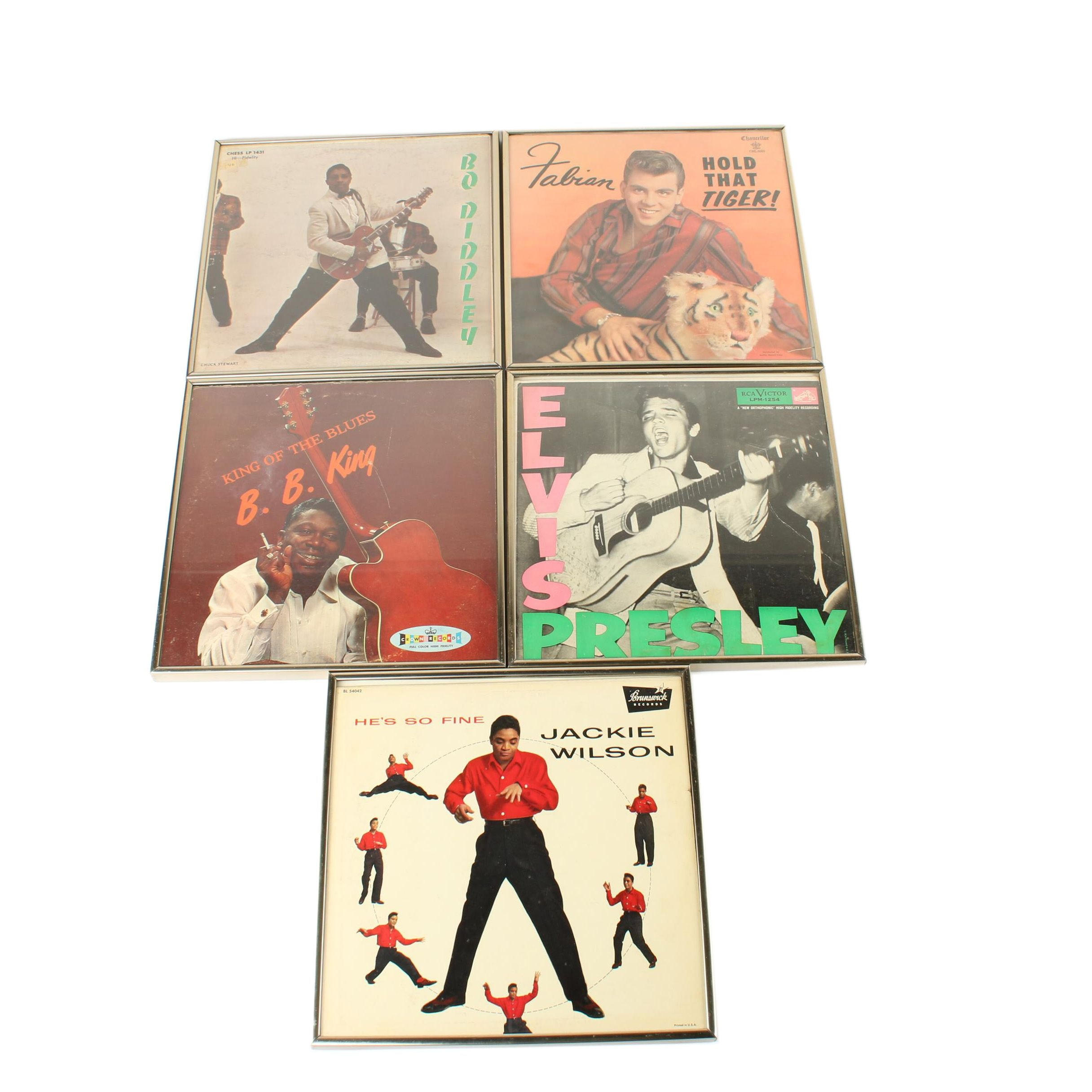 Framed Record Covers Including Elvis Presley, B.B. King, Jackie Wilson