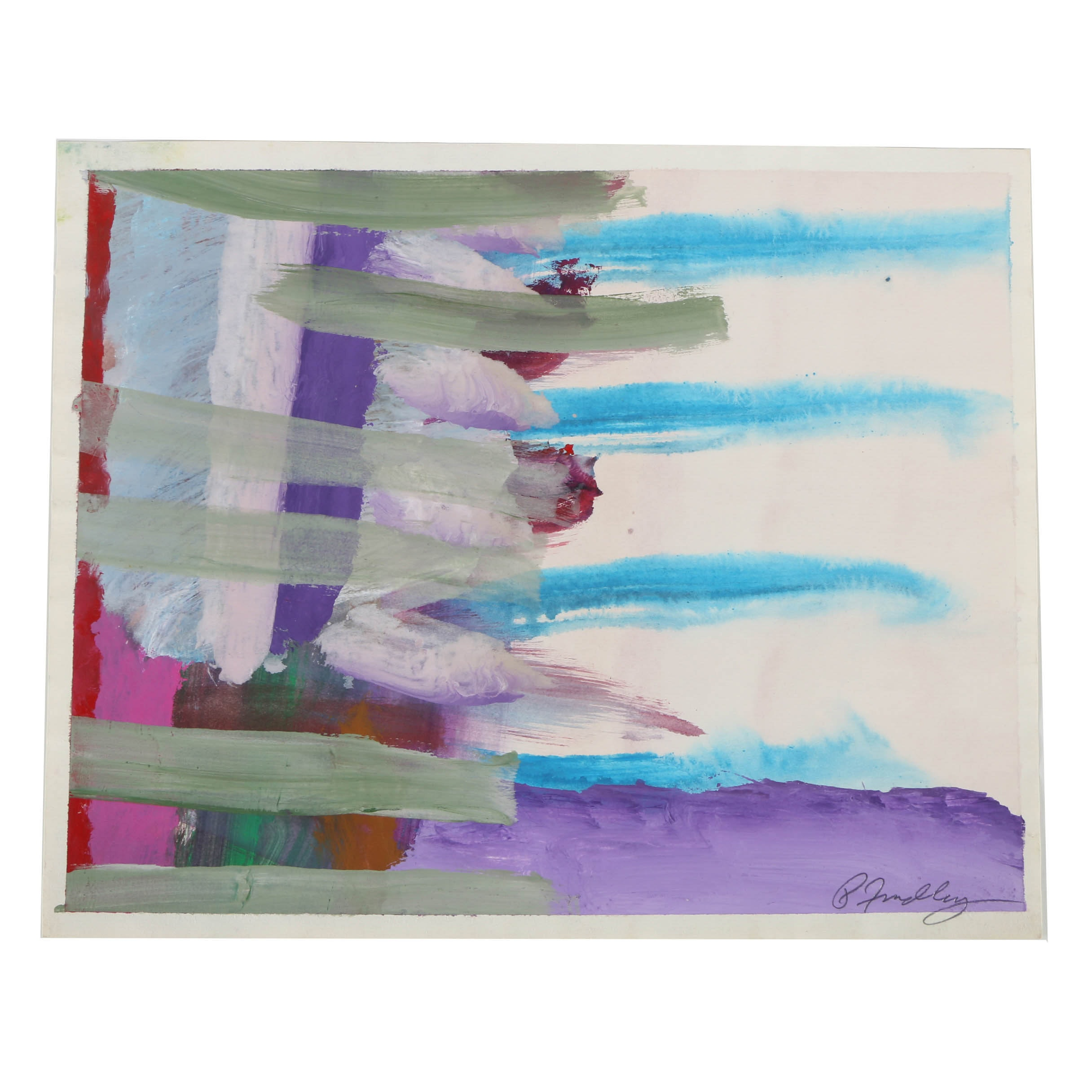 Paul Findlay Mixed Media Painting on Paper Abstract Composition