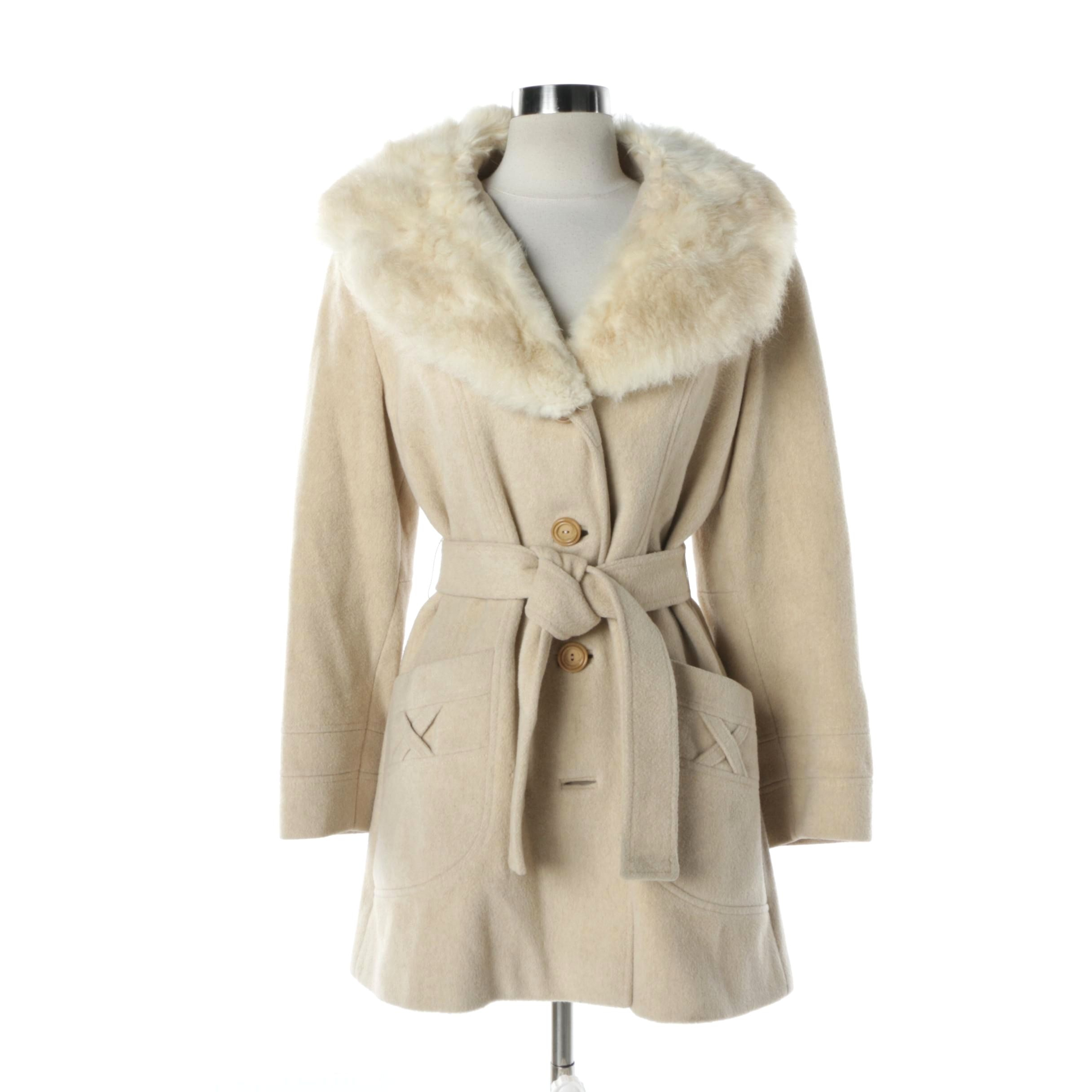Women's Vintage Beige Wool Coat with Shearling Collar