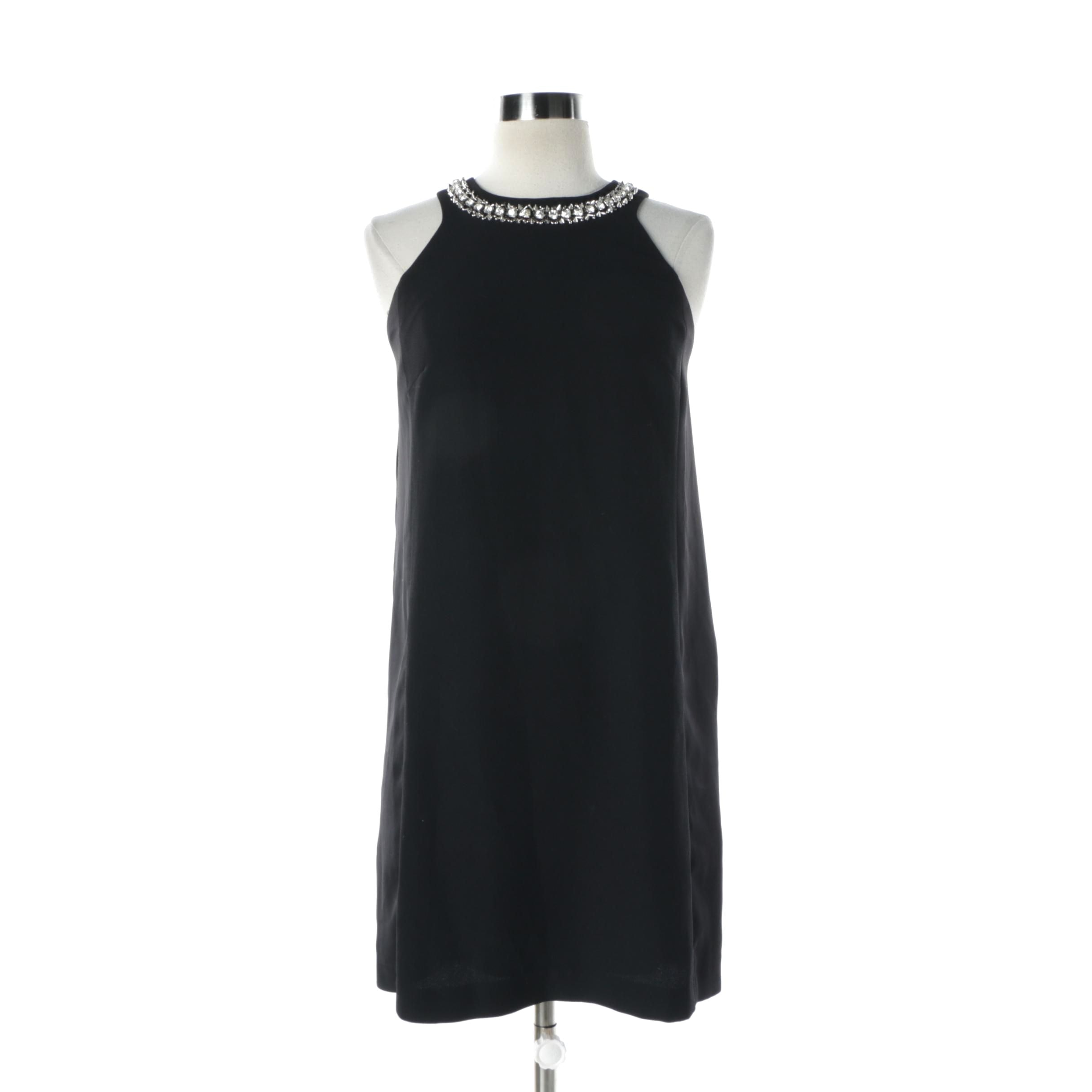 Rebecca Taylor Black Cocktail Dress with Rhinestone and Stud Collar