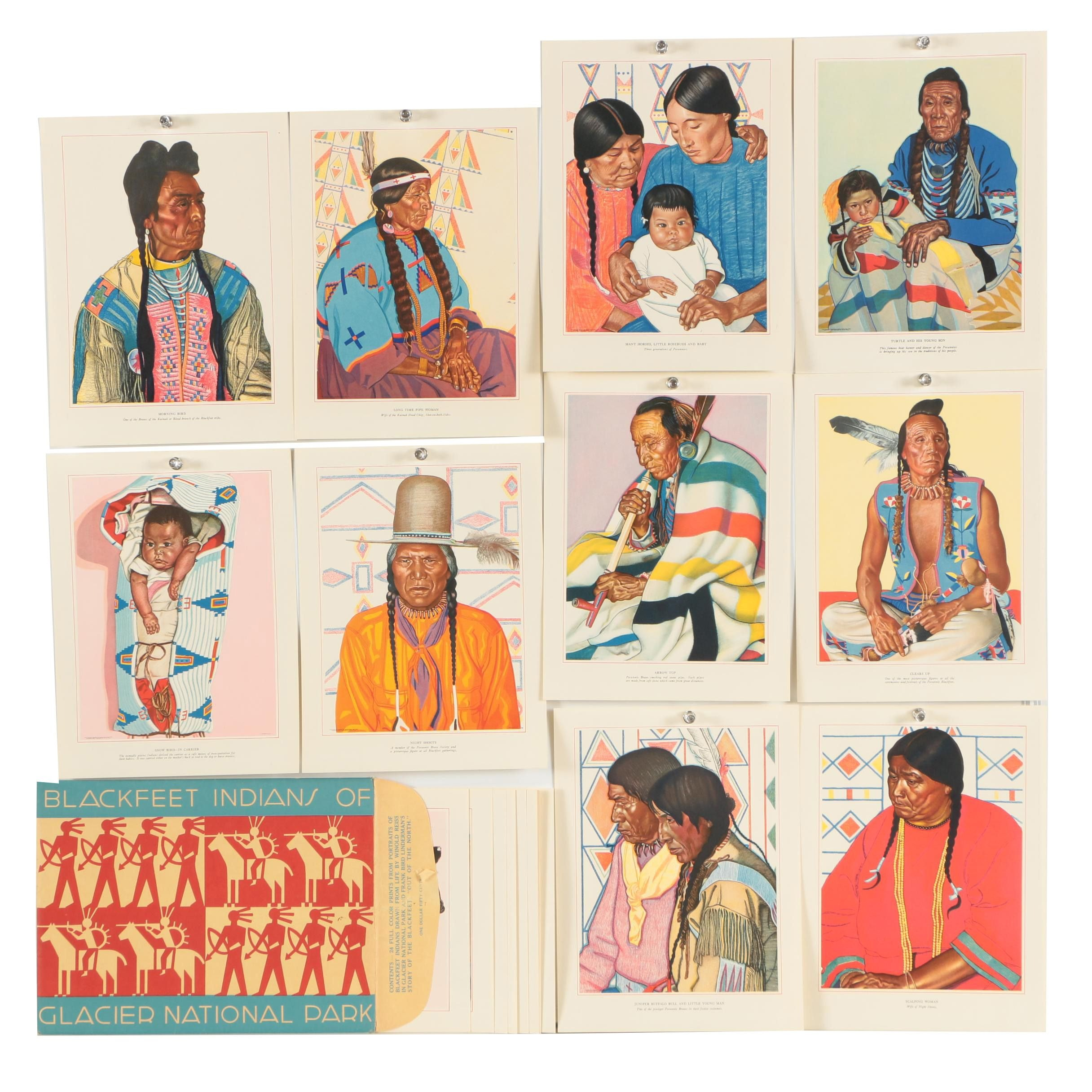 Vintage Offset Lithographs After Winold Reiss Paintings of Blackfeet Indians