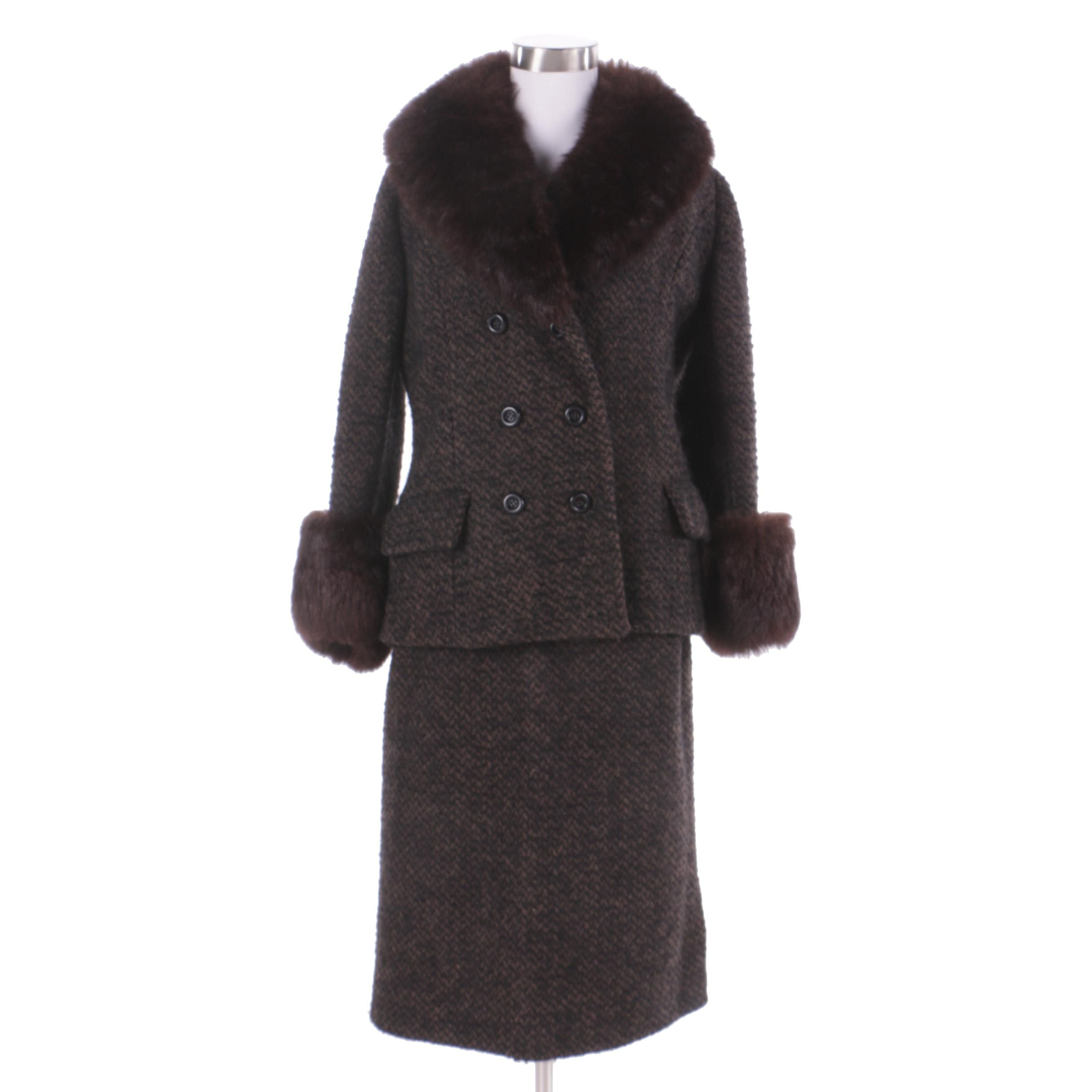 Women's Vintage Tweed Skirt Suit with Fox Fur Trim