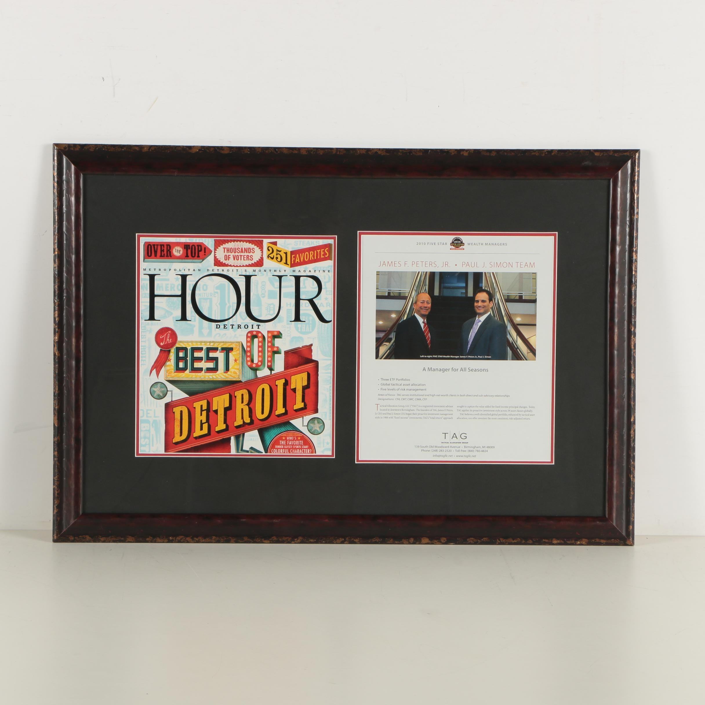 Framed Best of Detroit Magazine Cover And TAG Wealth Management Business Flyer