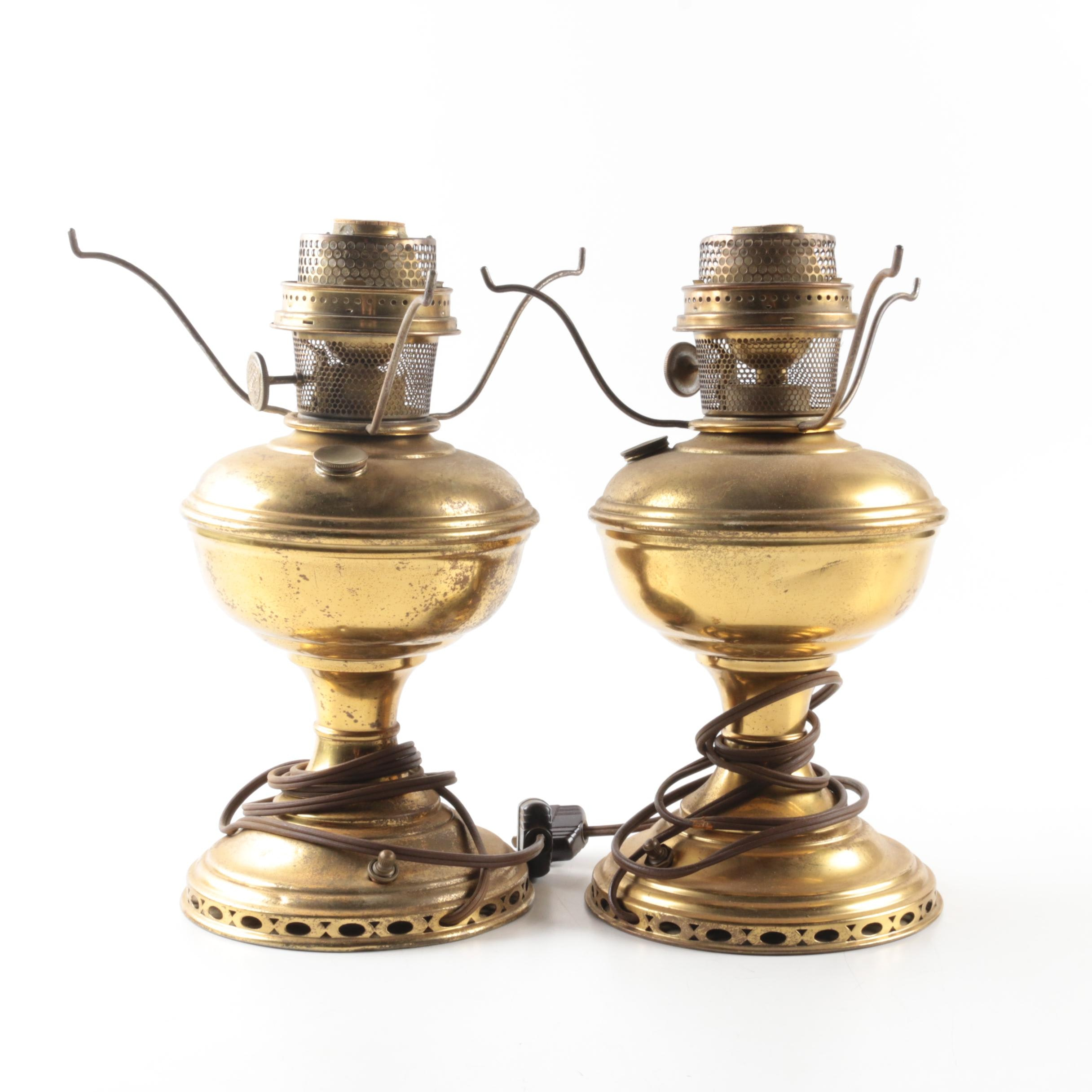 Pair Of Aladdin Electrified Oil Lamps ...